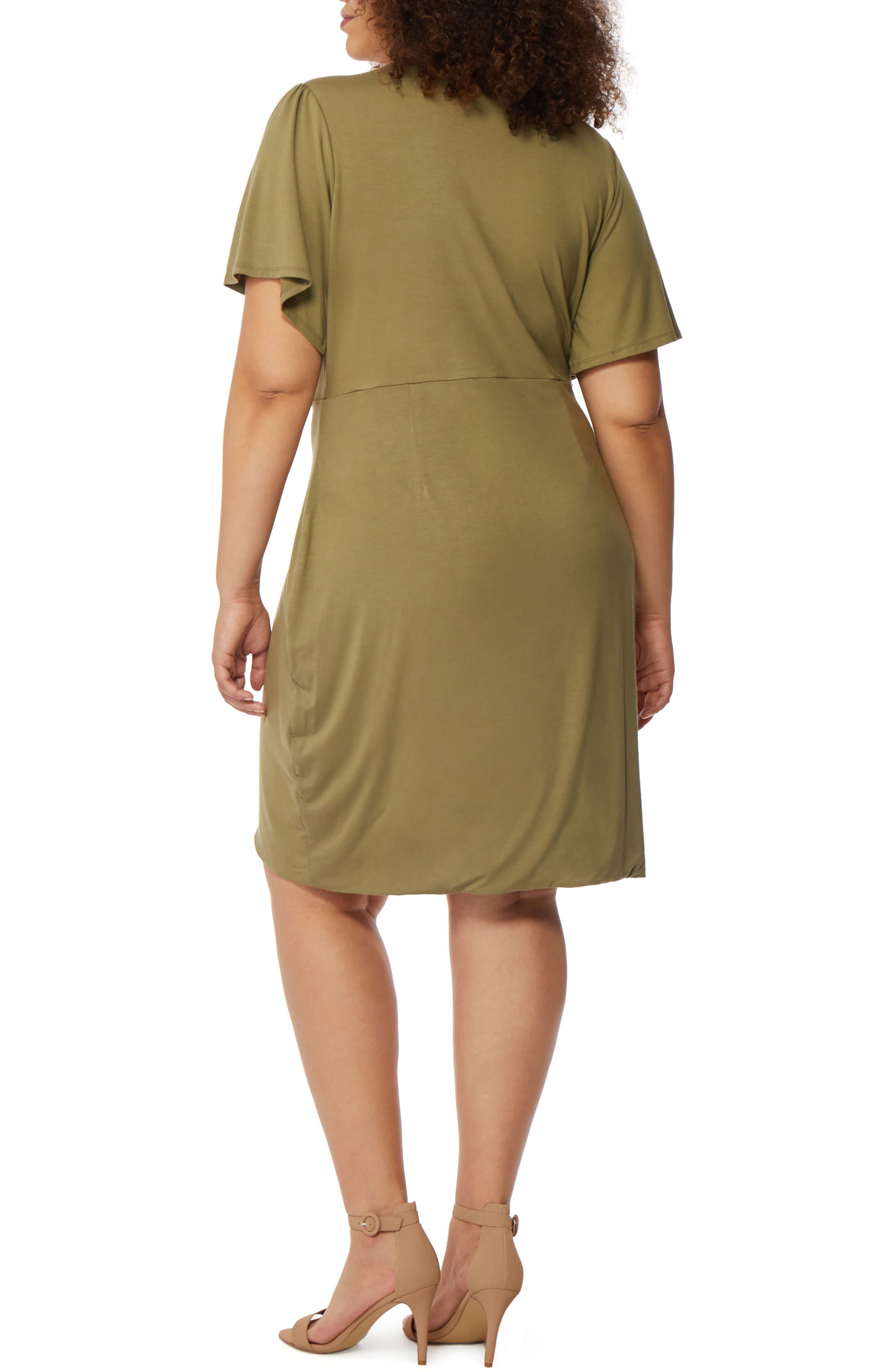 Twist Front Dress,                             Alternate thumbnail 2, color,                             Burnt Olive