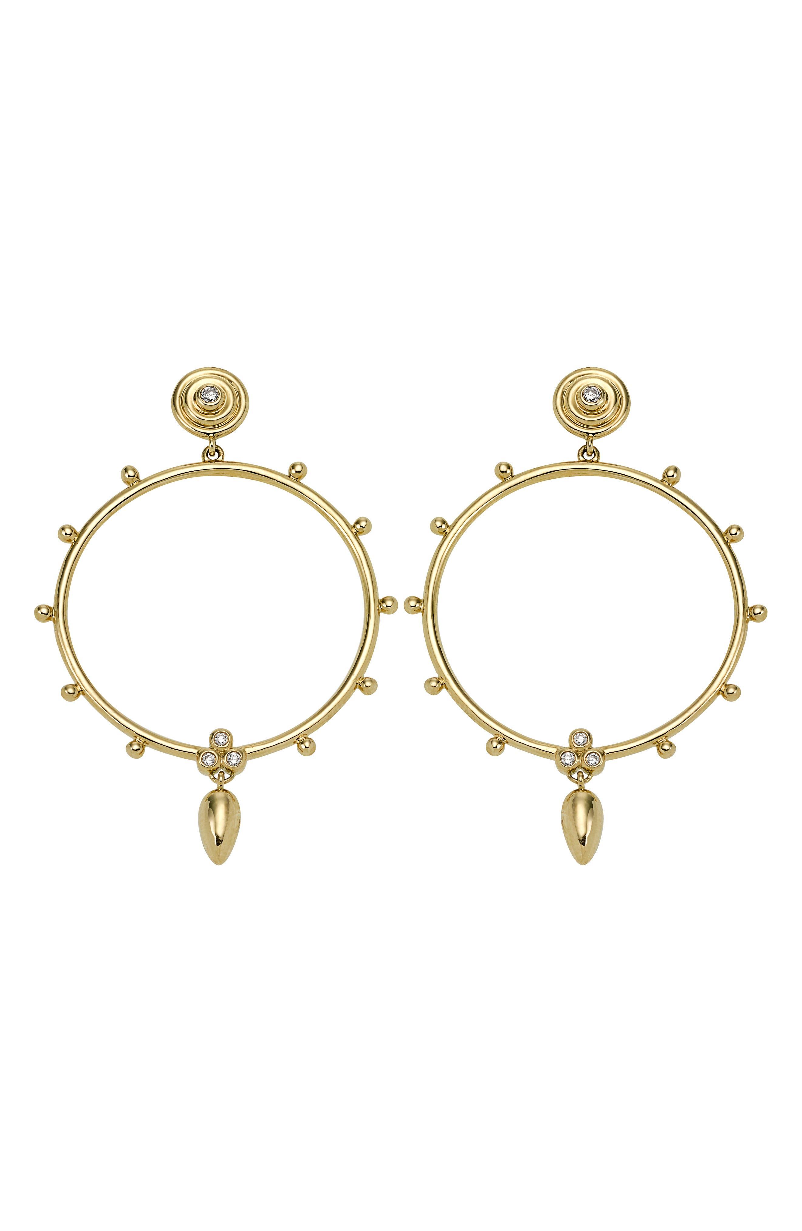 18K Gold & Diamond Circle Anfora Earrings,                             Main thumbnail 1, color,                             Yellow Gold