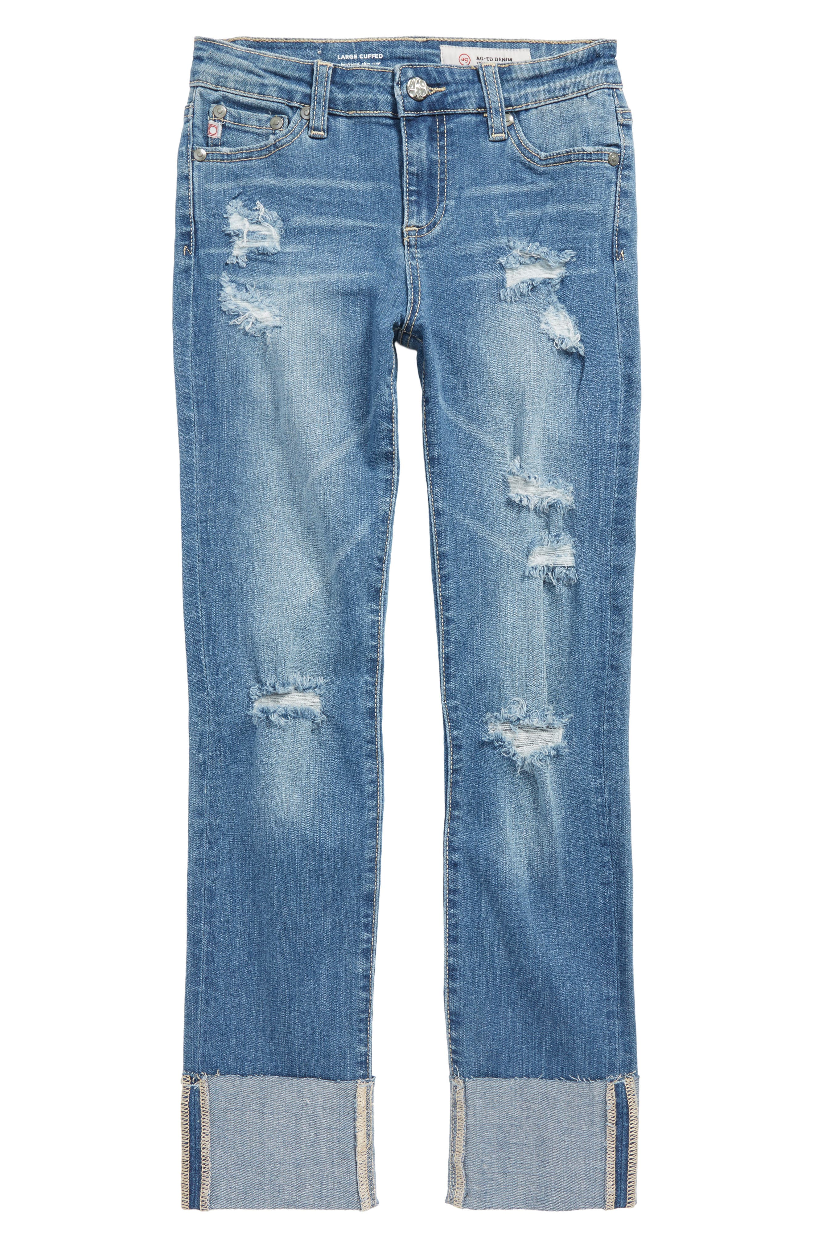 Distressed Cuffed Jeans,                             Main thumbnail 1, color,                             Vintage Brilliant Blue