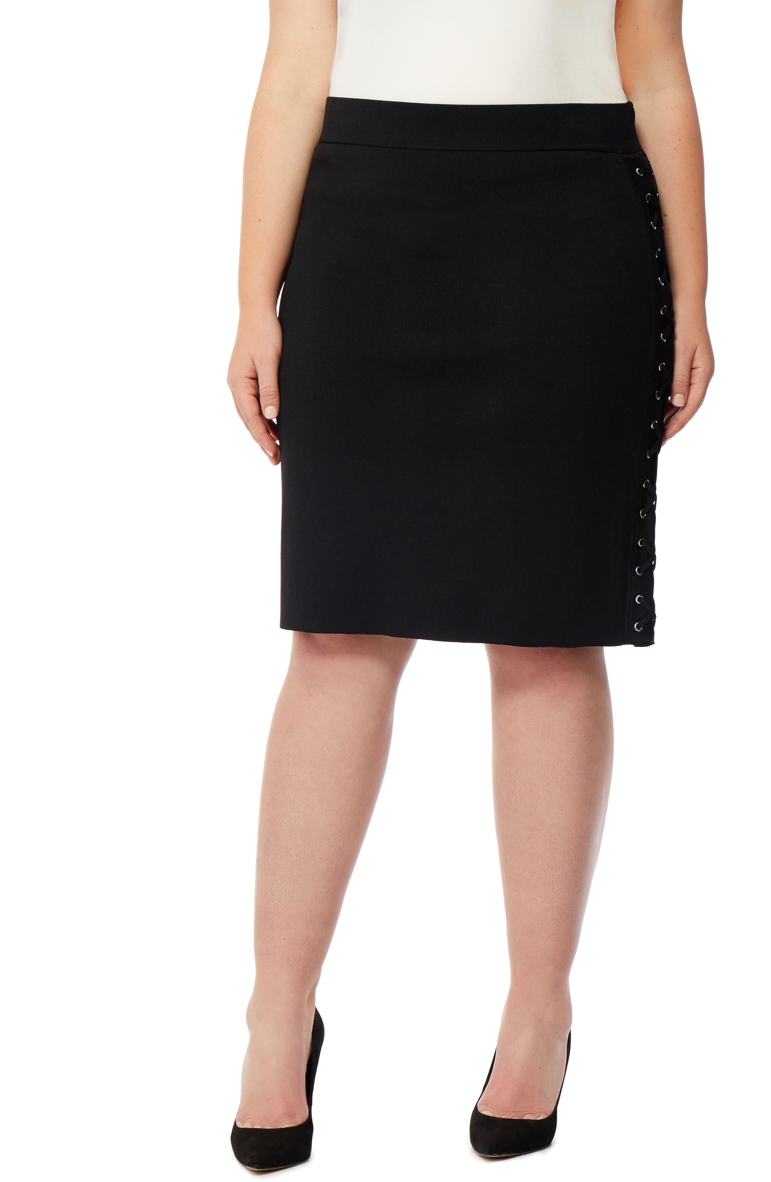 Lace-Up Skirt,                         Main,                         color, Black