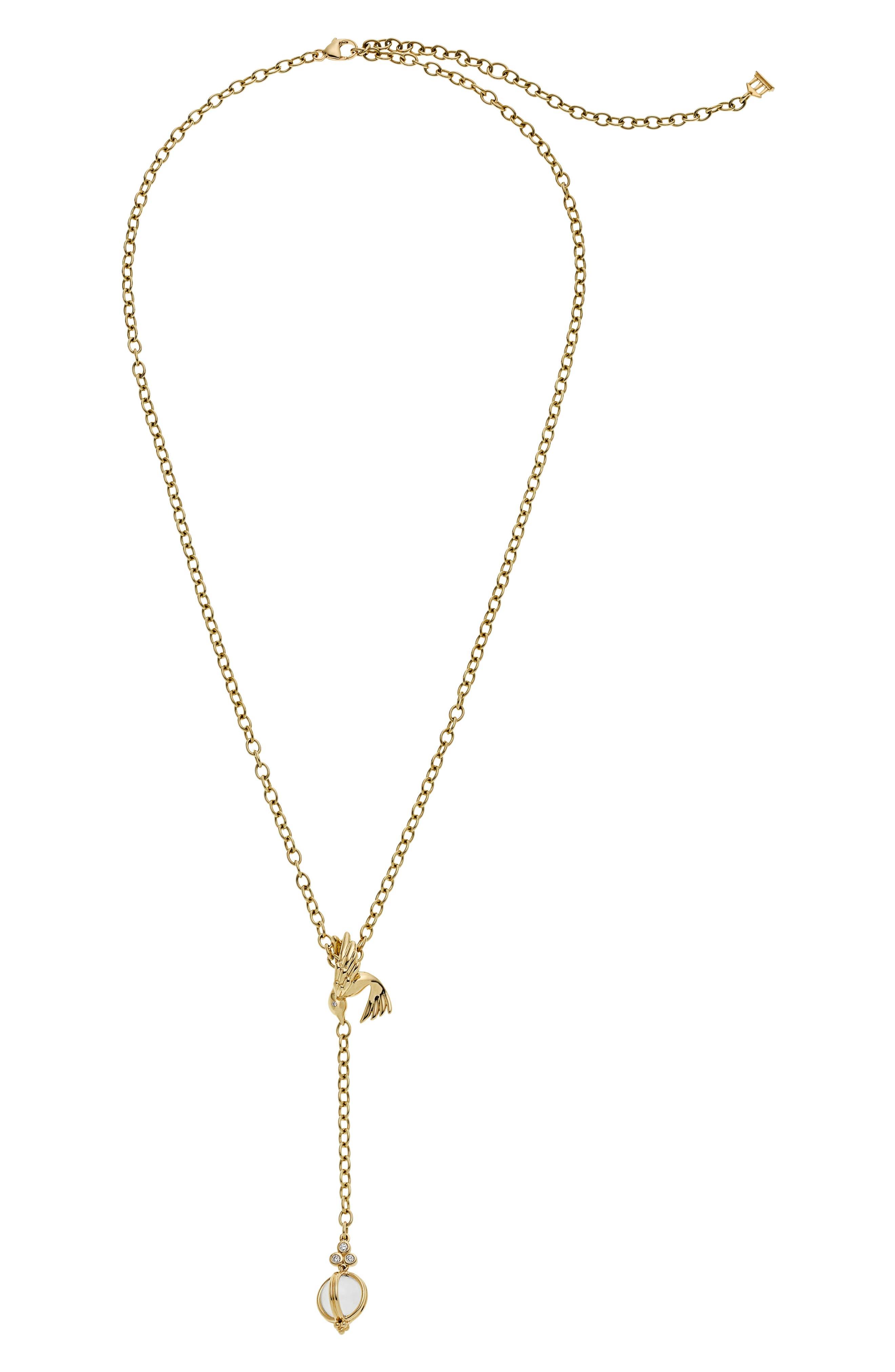 TEMPLE ST CLAIR Crystal Diamond Bird Y-Necklace