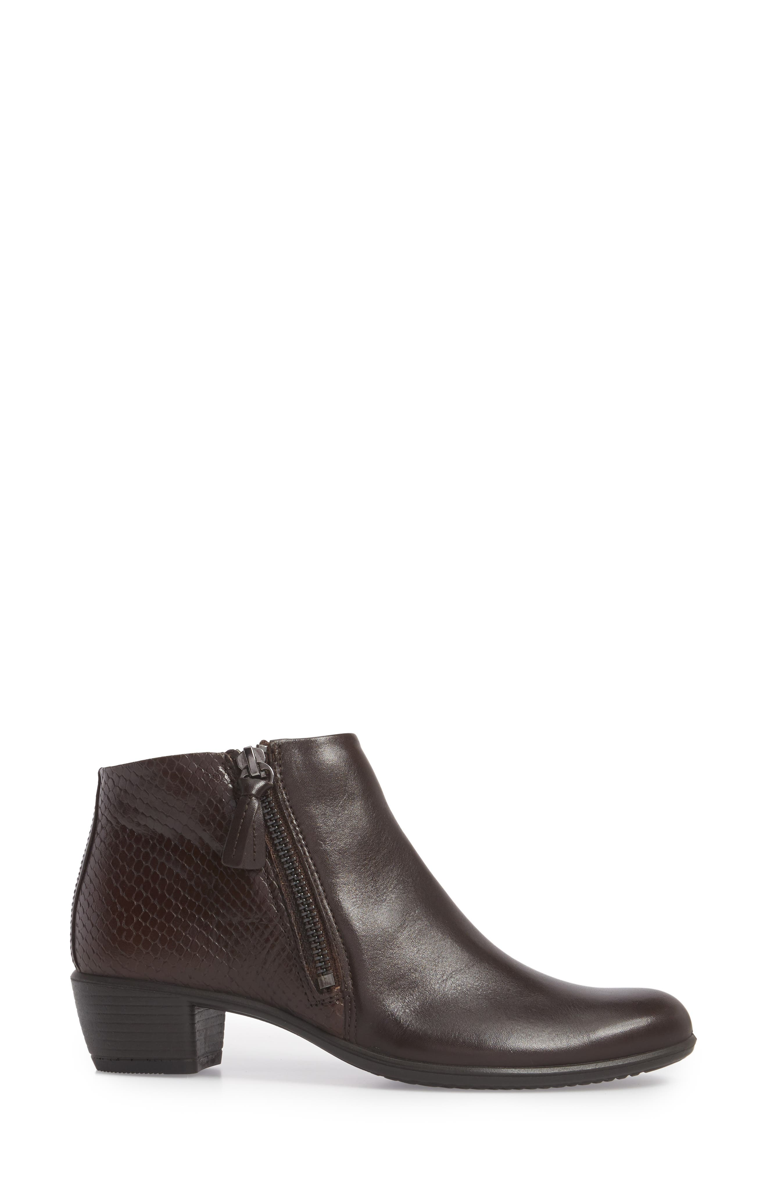 'Touch' Zip Bootie,                             Alternate thumbnail 3, color,                             Coffee Leather