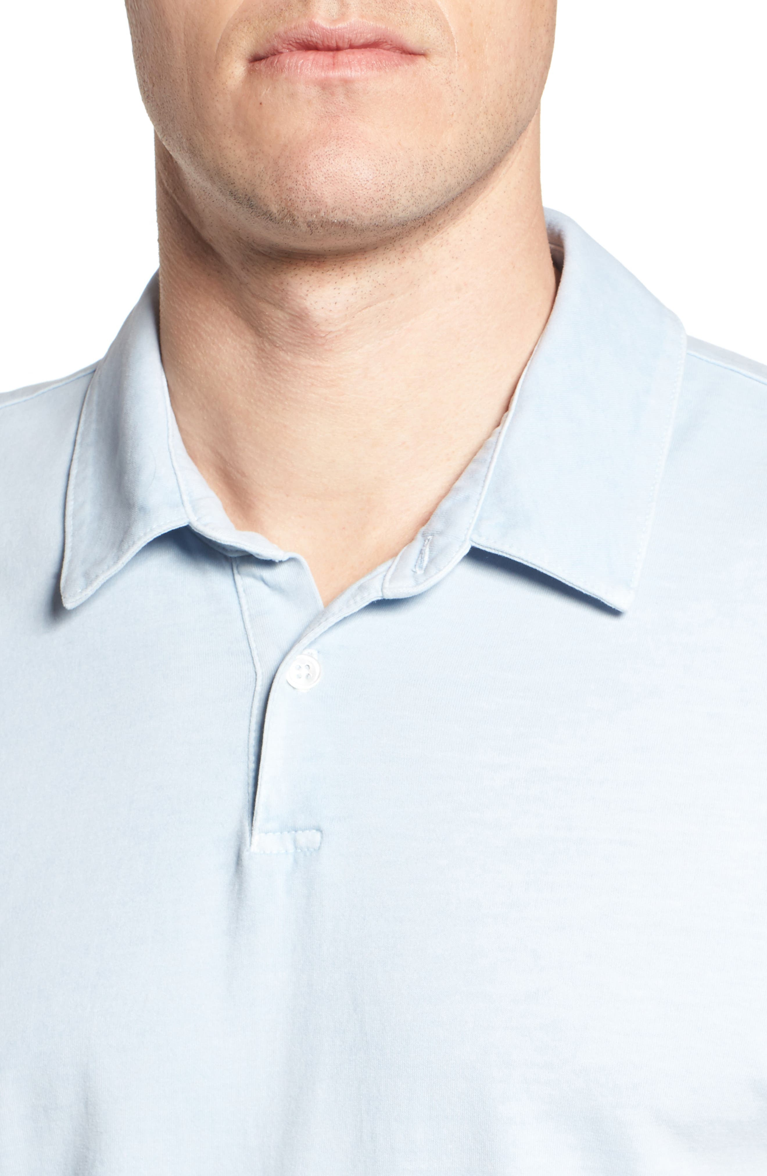 Slim Fit Sueded Jersey Polo,                             Alternate thumbnail 5, color,                             Baby Blue Pigment