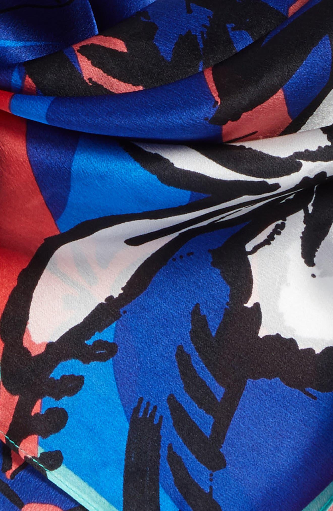 Print Silk Scarf,                             Alternate thumbnail 4, color,                             Blue Modern Status