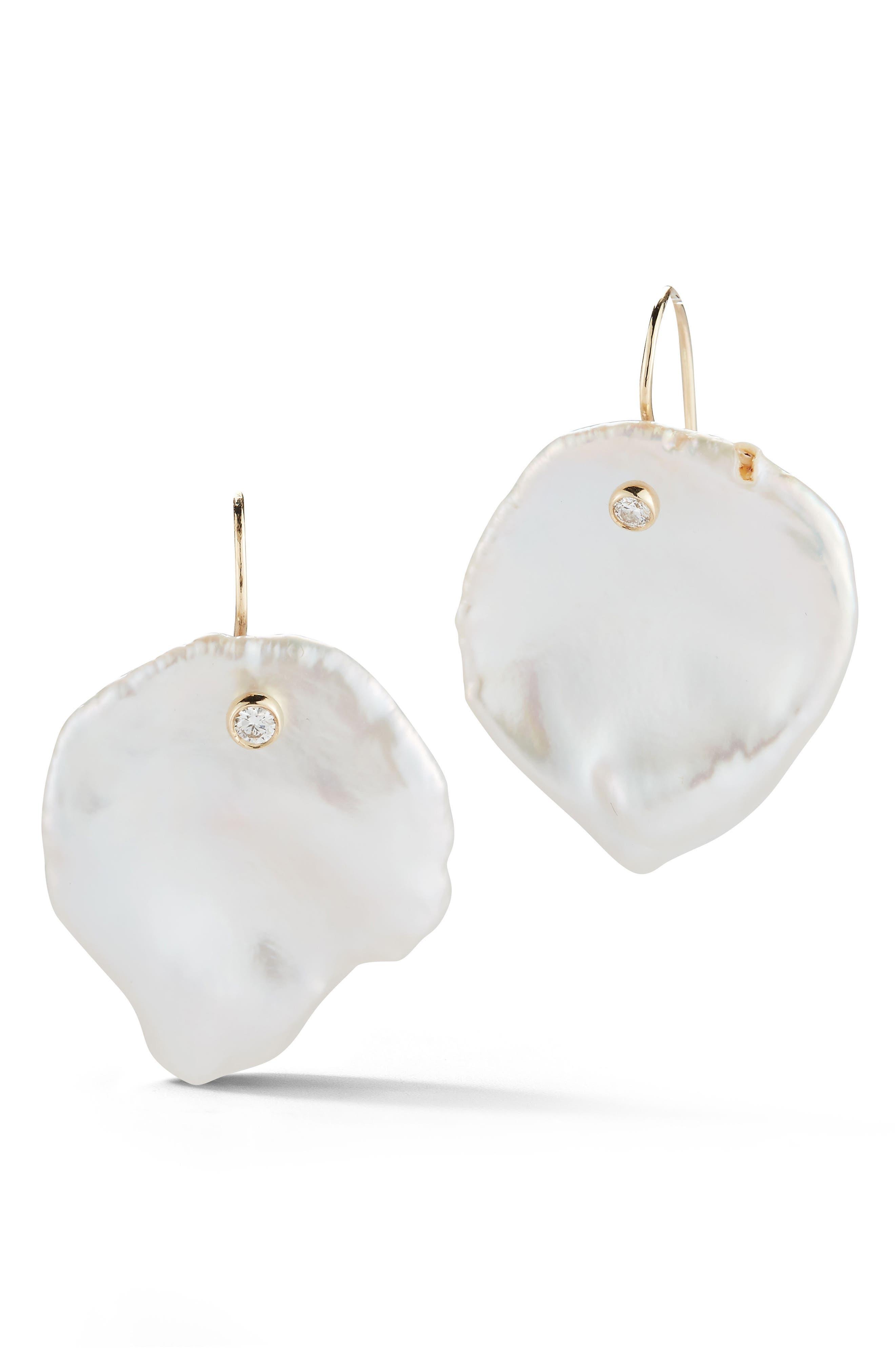 Mizuki Flat Pearl & Diamond Drop Earrings