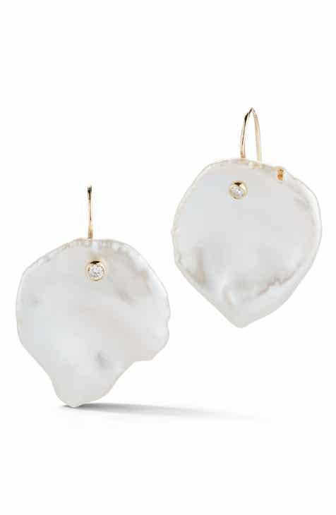 Mizuki Flat Pearl Diamond Drop Earrings