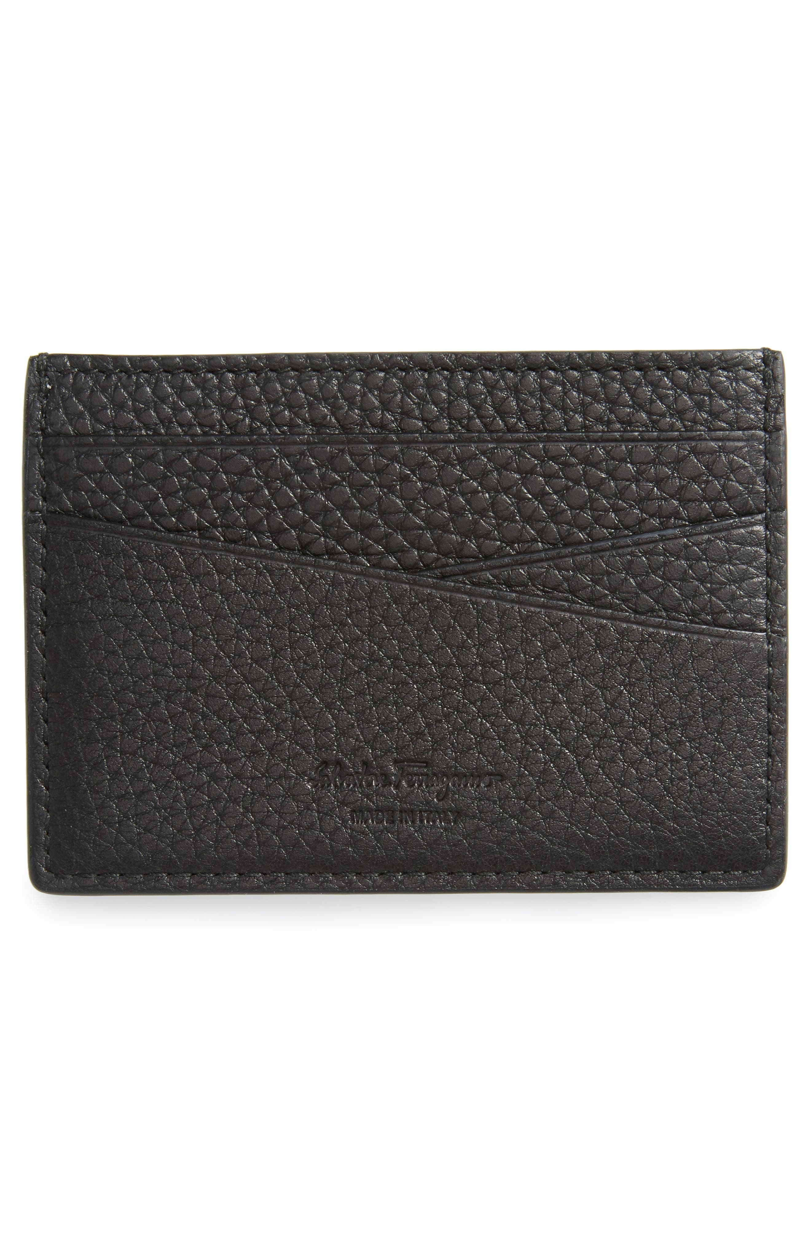 Firenze Leather Card Case,                             Alternate thumbnail 2, color,                             Black
