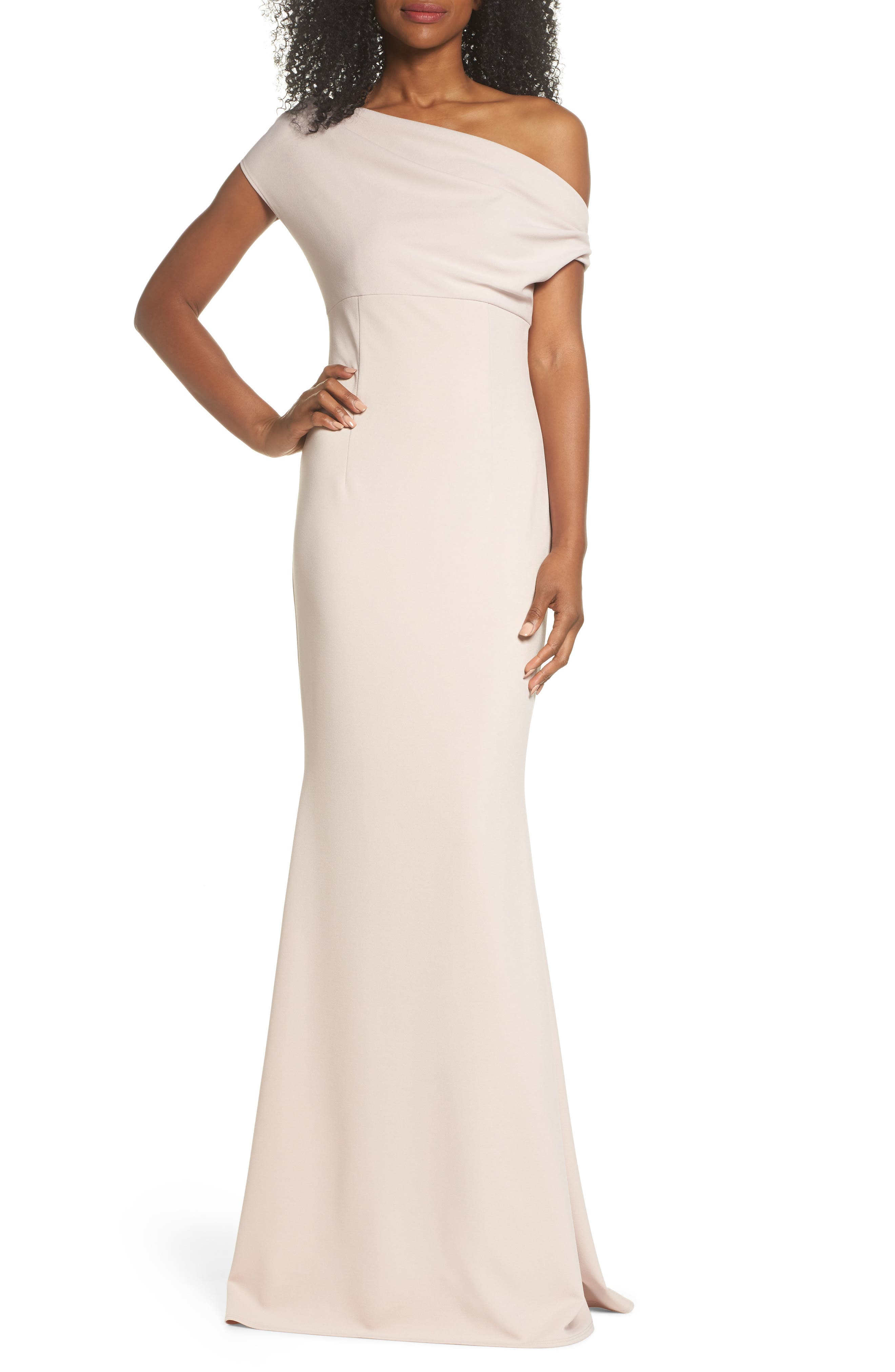 Katie May One-Shoulder Crepe Trumpet Gown