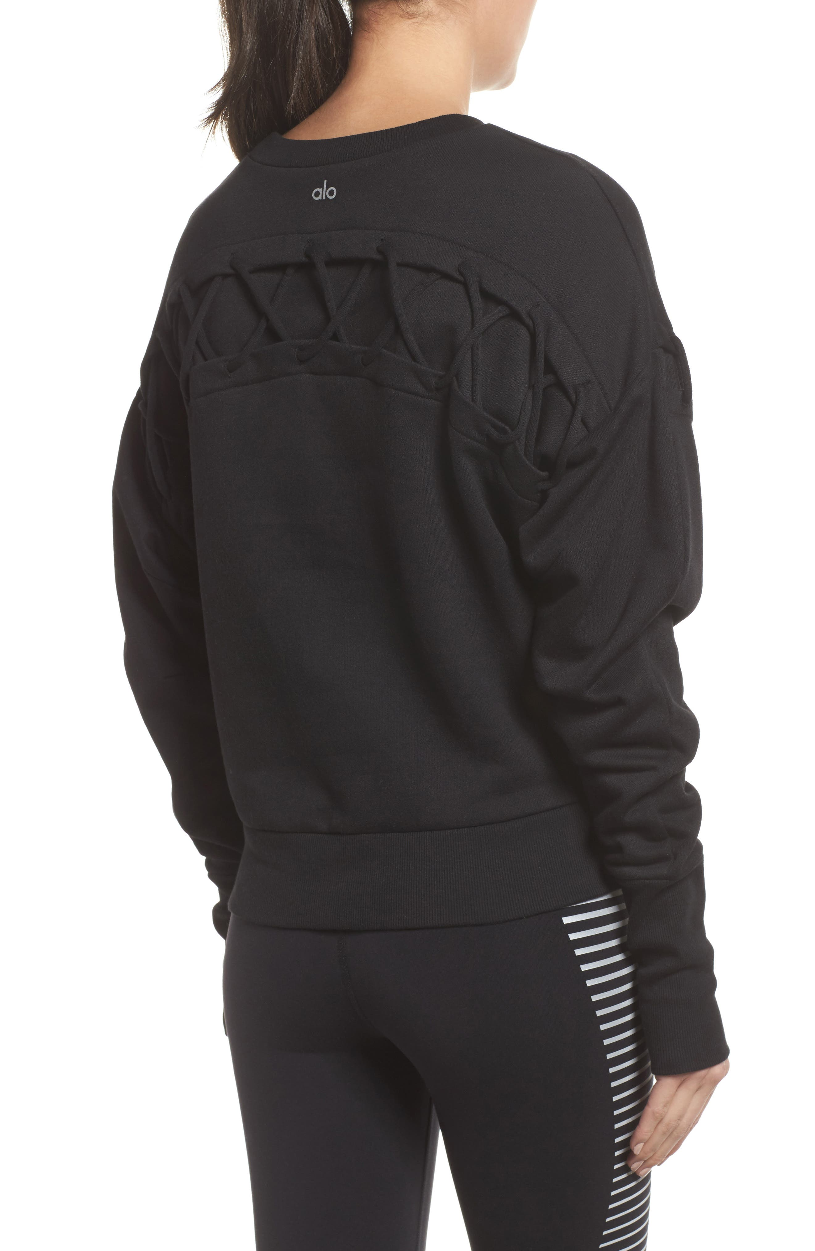 Lattice Long Sleeve Pullover,                             Alternate thumbnail 2, color,                             Black