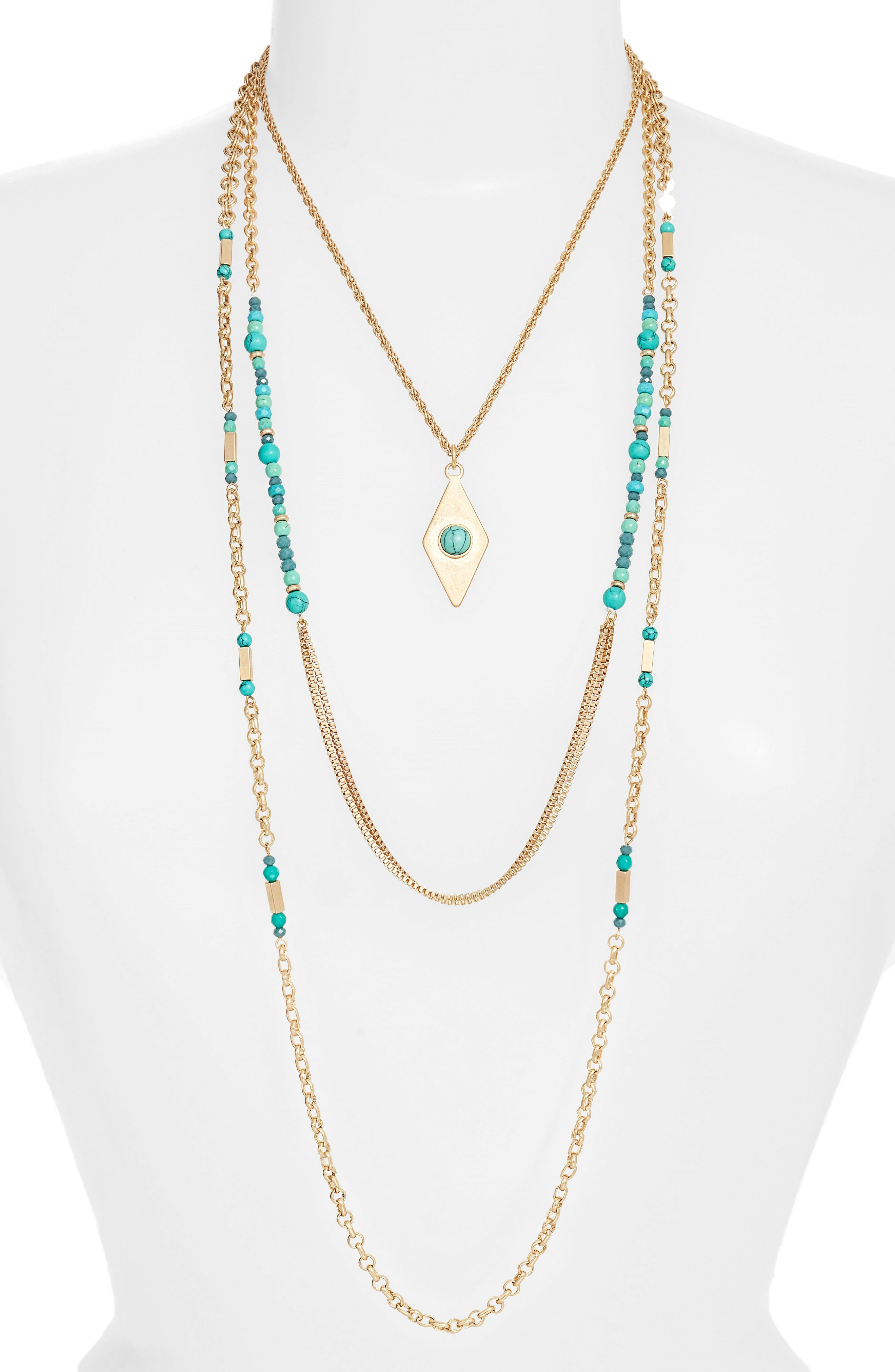 Multistrand Necklace,                         Main,                         color, Turquoise- Gold