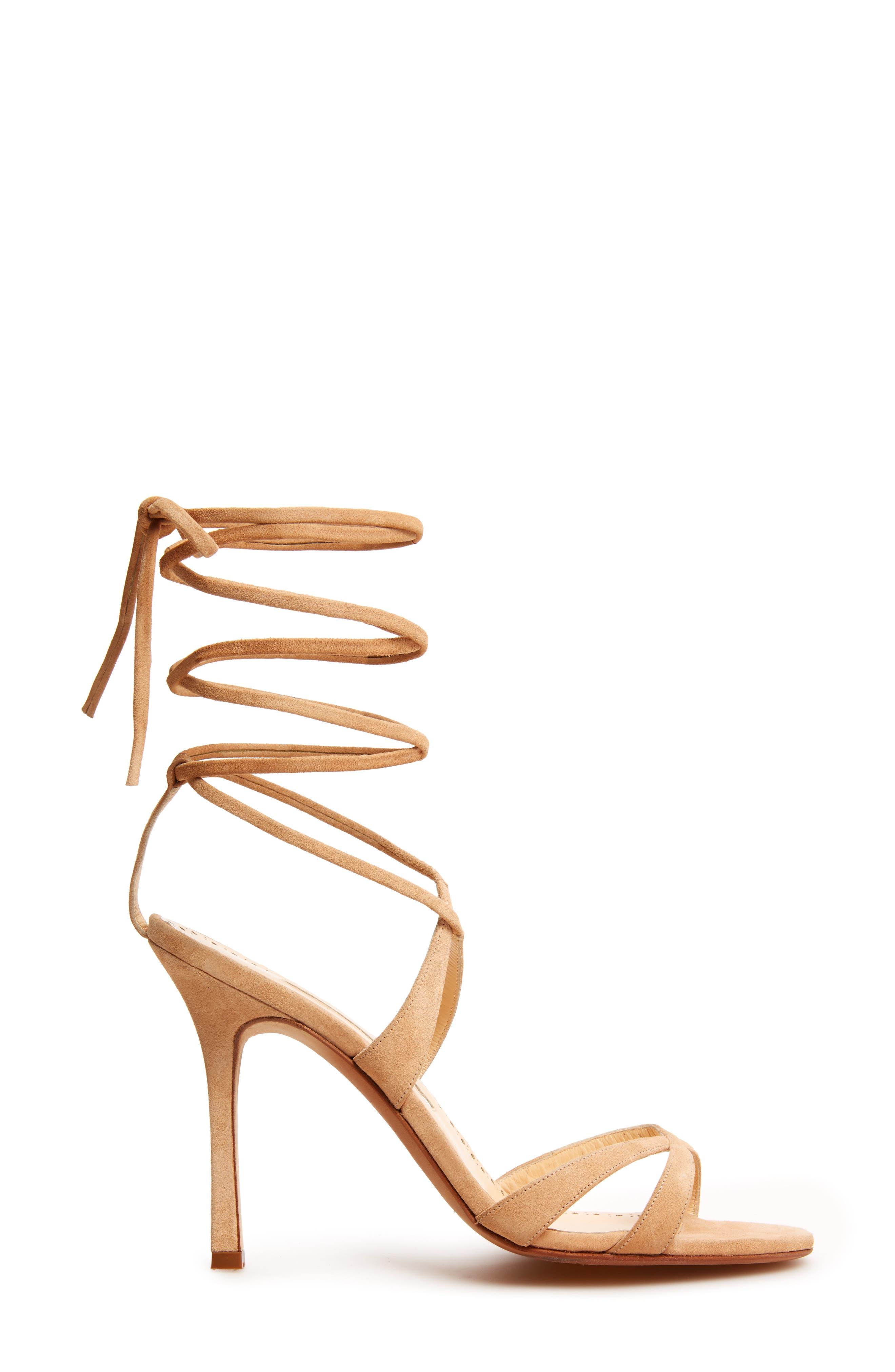 Criss Ankle Tie Sandal,                             Alternate thumbnail 3, color,                             Light Camel
