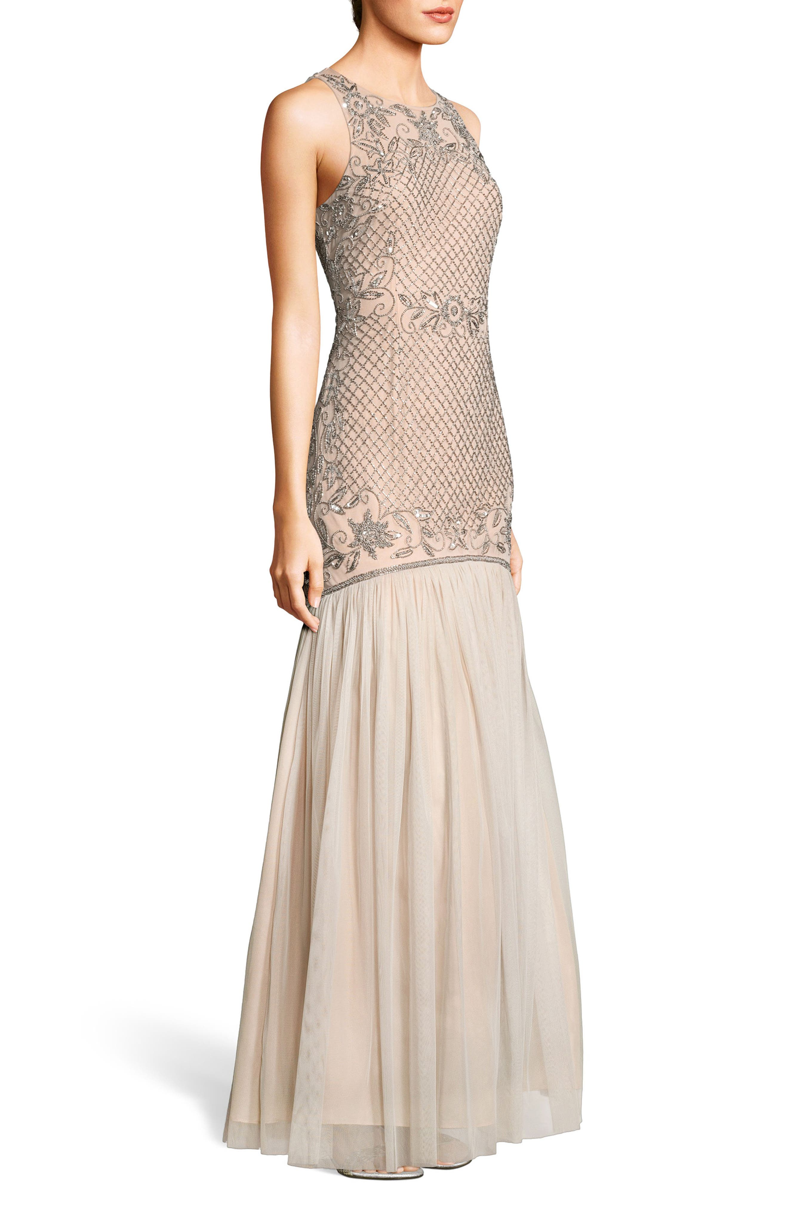 Beaded Tulle Trumpet Gown,                             Alternate thumbnail 3, color,                             Silver/ Nude