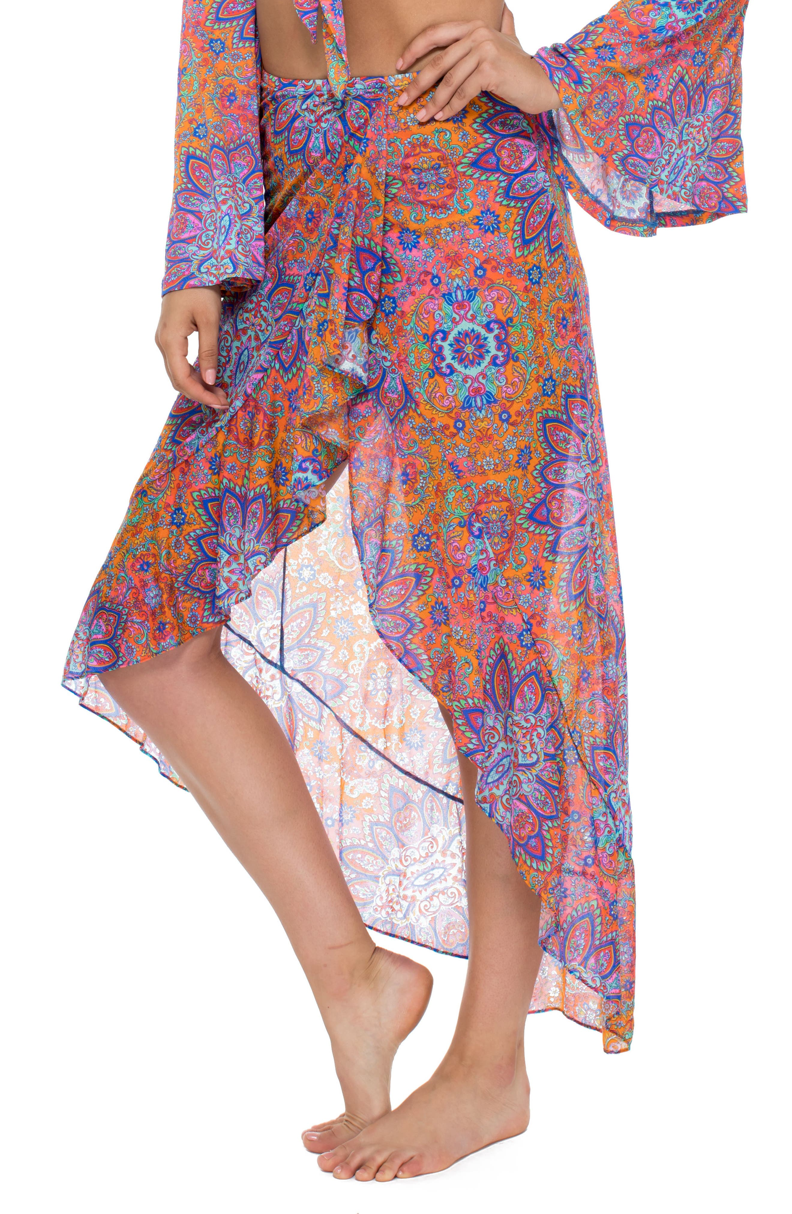 Ruffle Skirt Cover-Up,                             Alternate thumbnail 3, color,                             Pink Multi