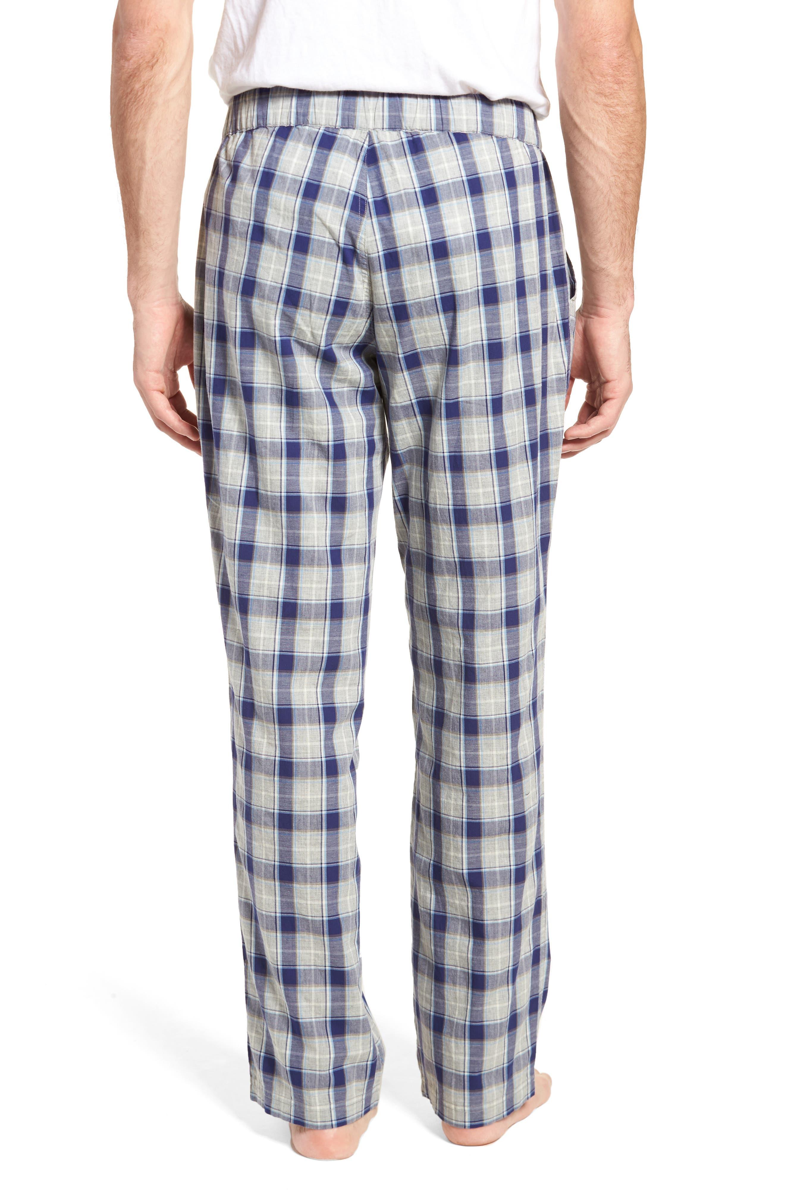 Flynn Plaid Cotton Lounge Pants,                             Alternate thumbnail 2, color,                             Navy