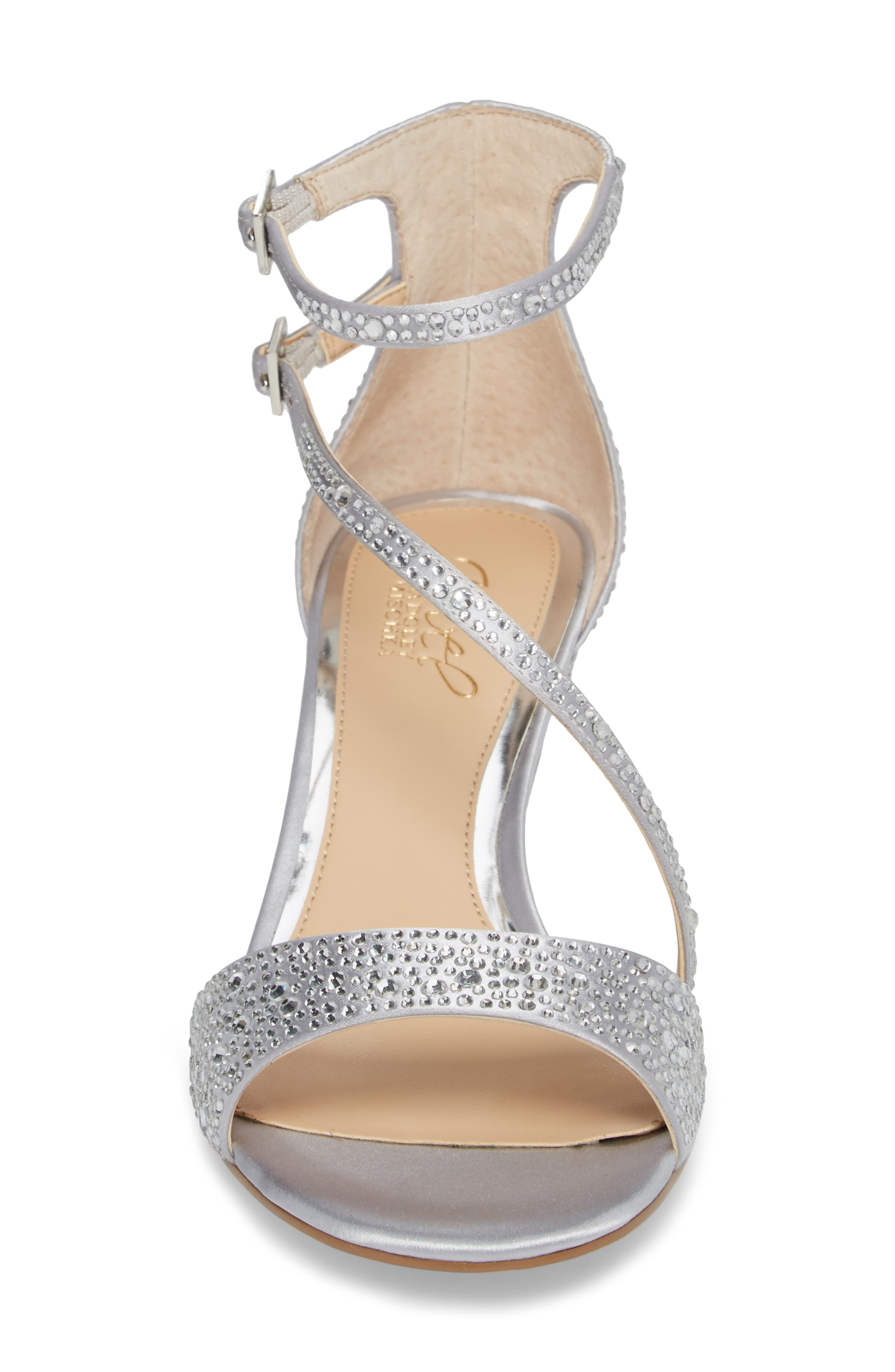 Tangerine Crystal Embellished Sandal,                             Alternate thumbnail 4, color,                             Silver Satin
