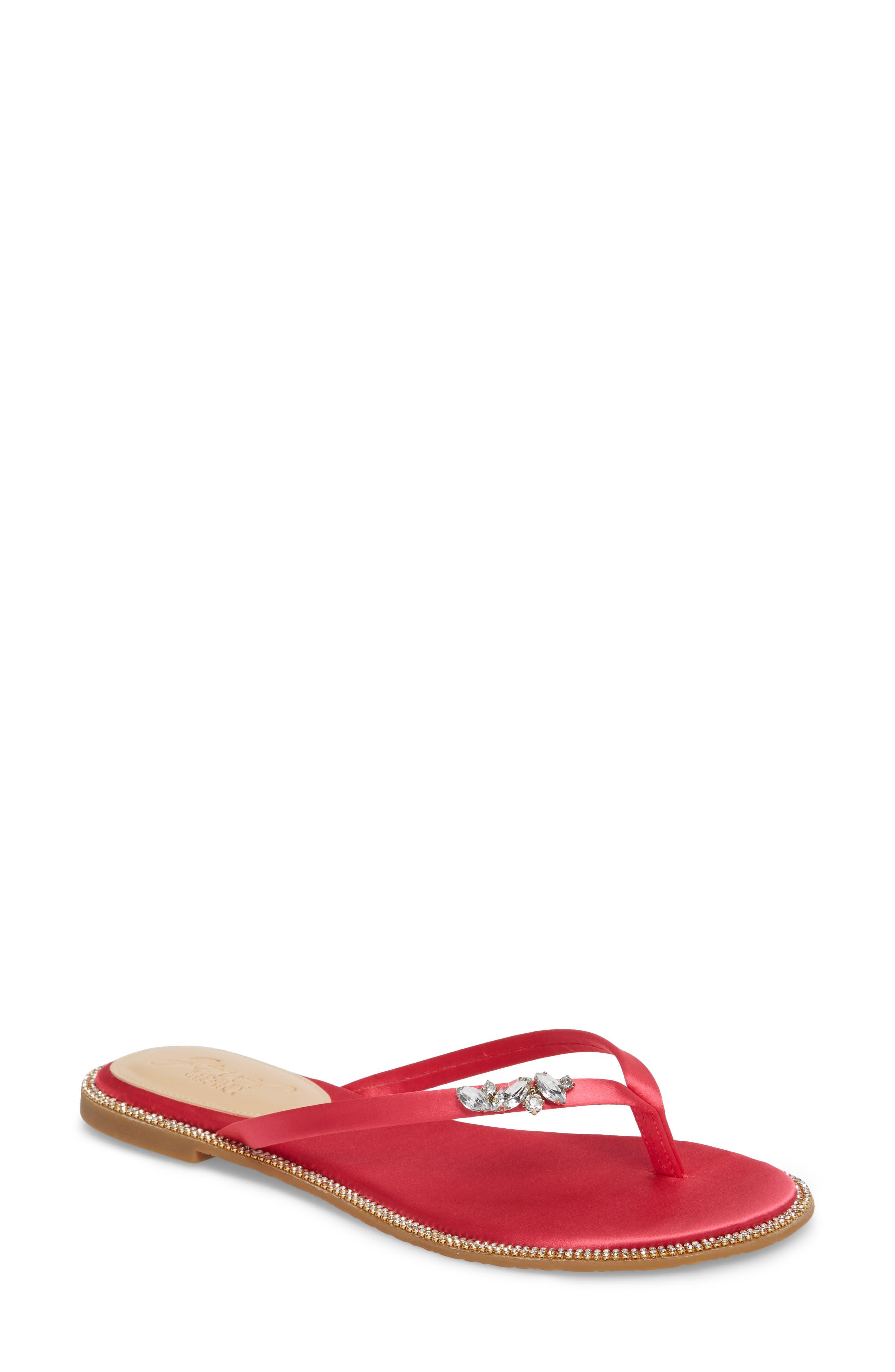 Thalia Crystal Embellished Flip Flop,                         Main,                         color, Pink Leather