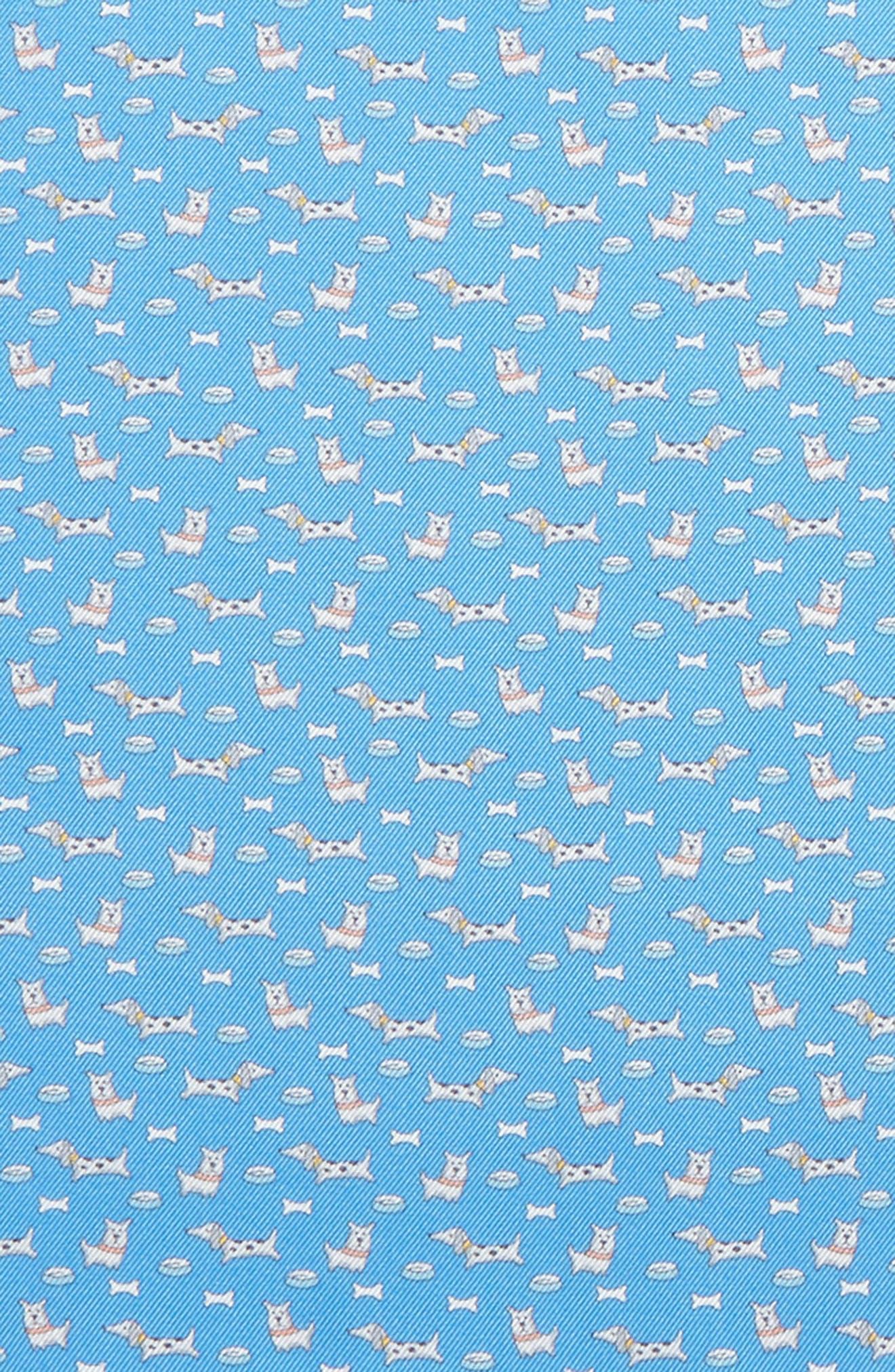 Edo Dog Silk Pocket Square,                             Alternate thumbnail 3, color,                             Bright Blue