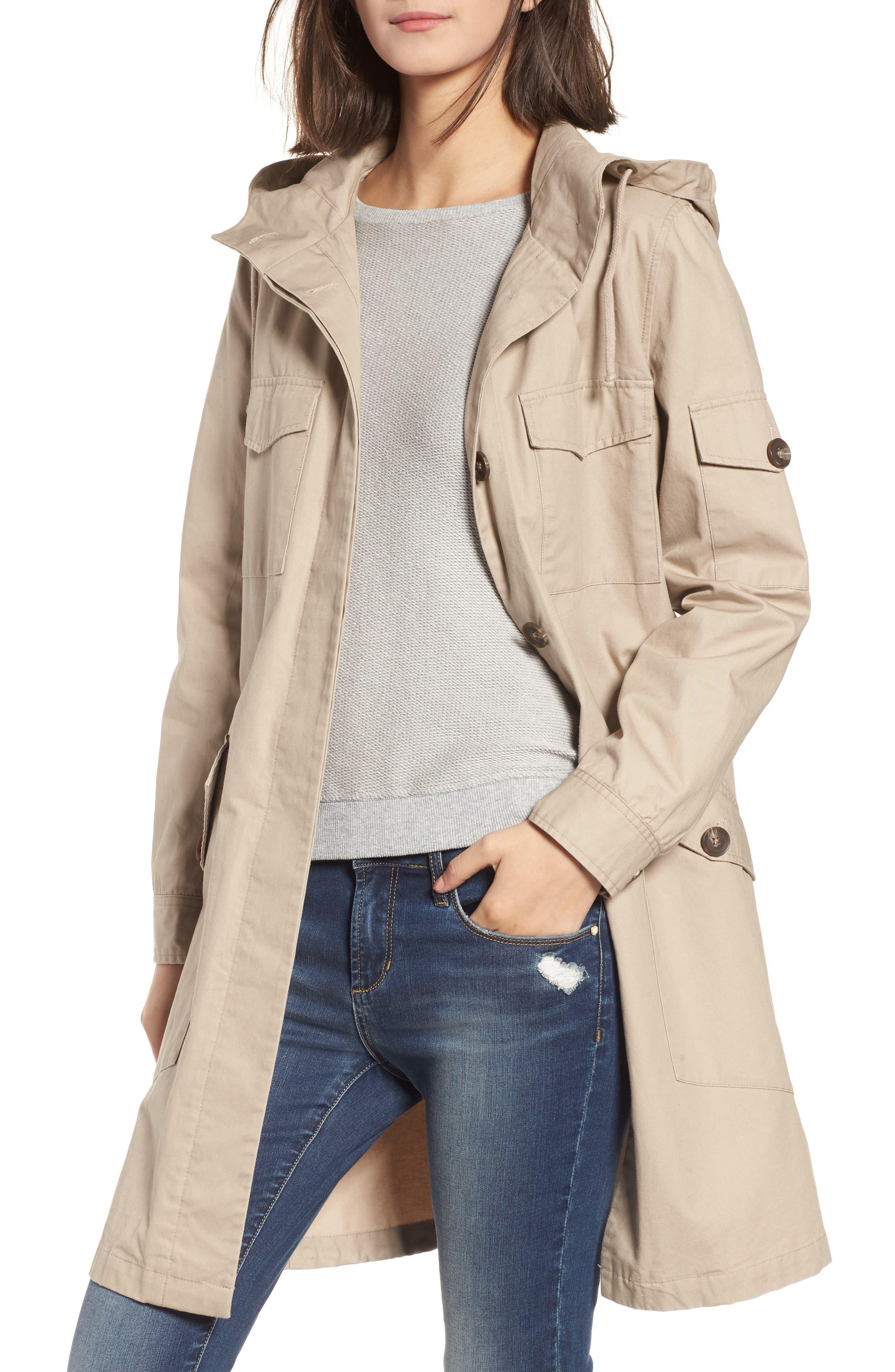 Noah Cotton Twill Coat,                         Main,                         color, Cobblestone