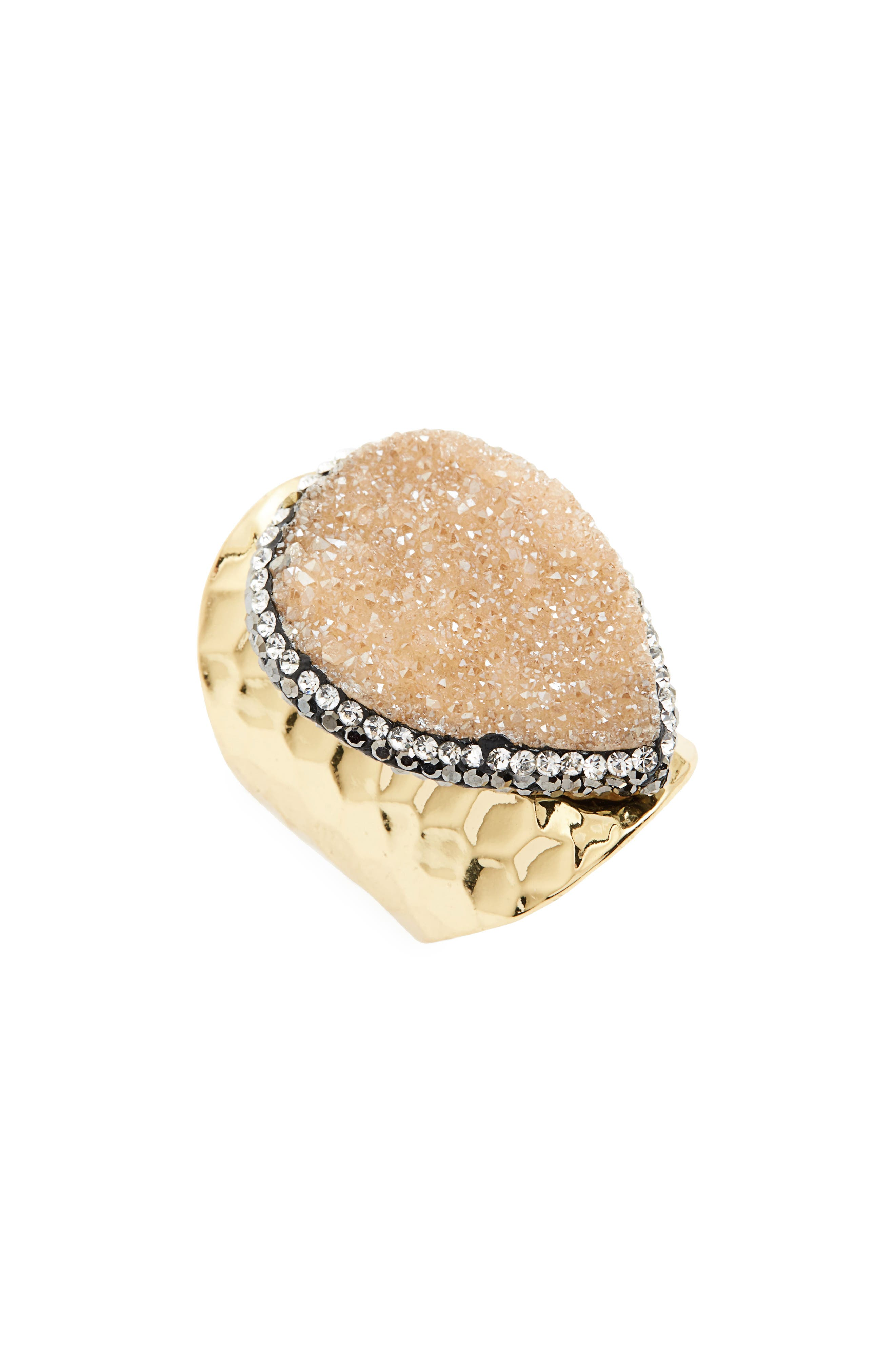 Love's Affect Drusy Ring,                         Main,                         color, Beige