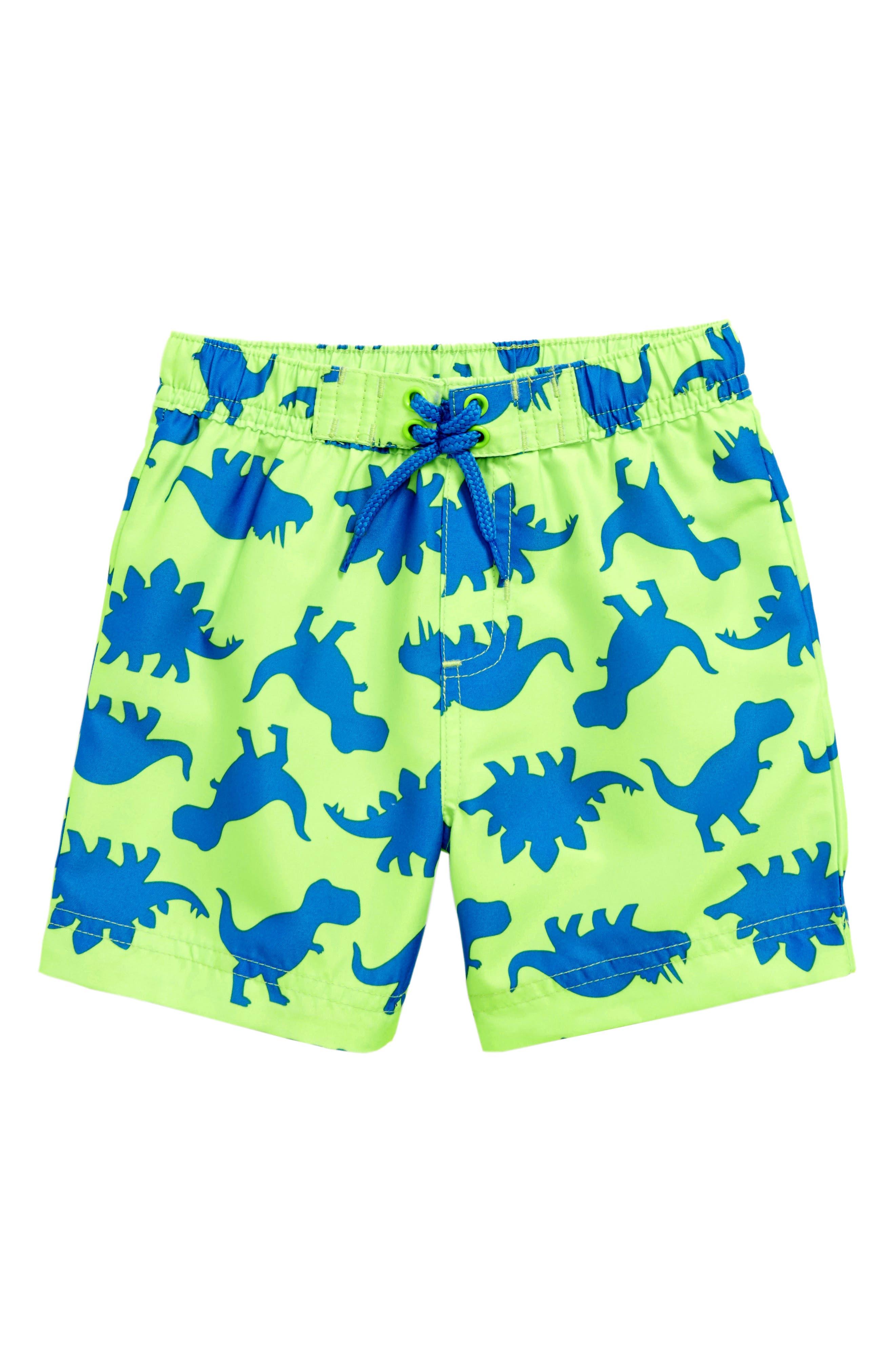 Main Image - Little Me Dino UPF 50+ Swim Trunks (Baby Boys)