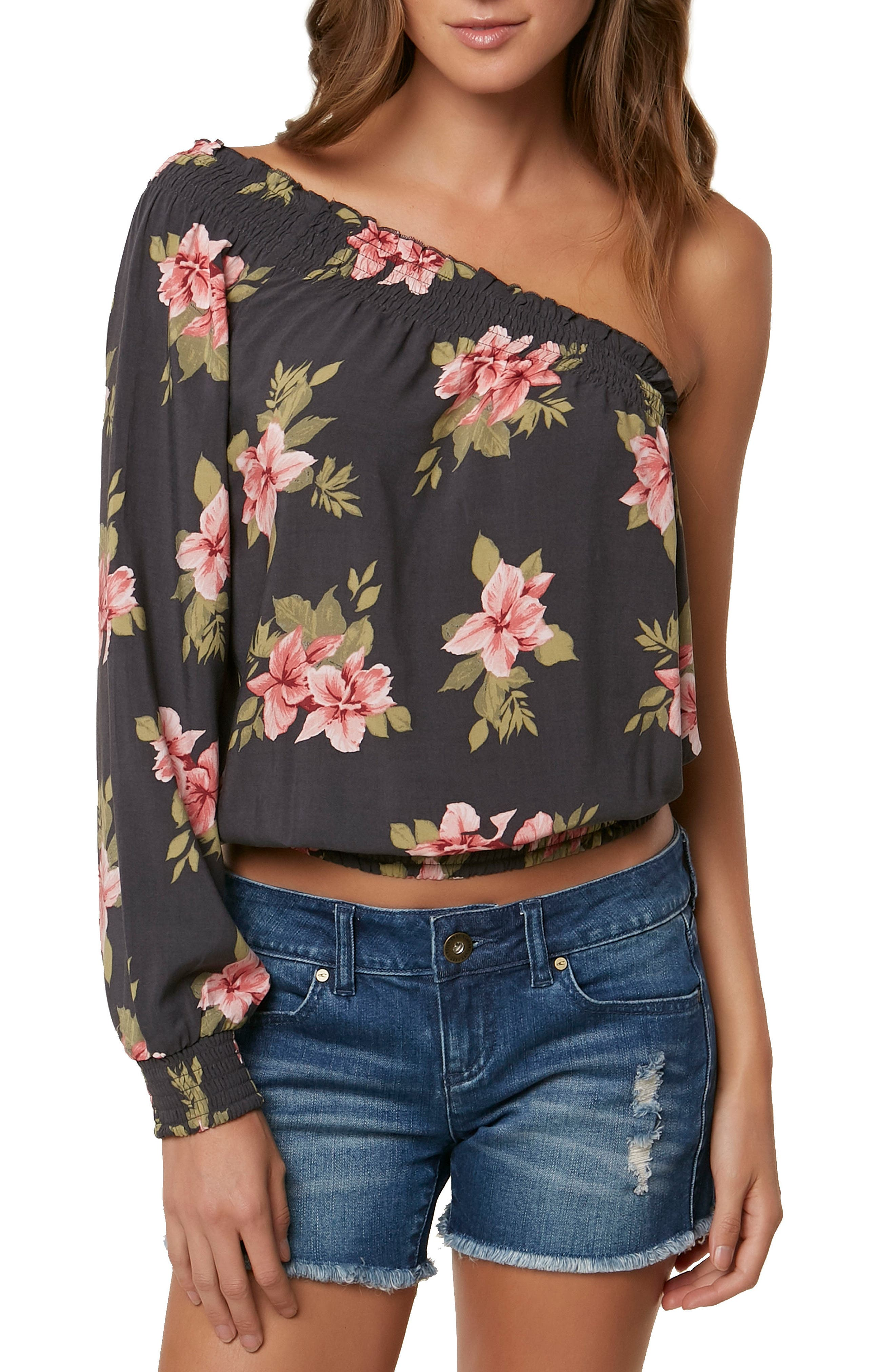 Bobbie Flower Print One-Shoulder Top,                         Main,                         color, Asphalt