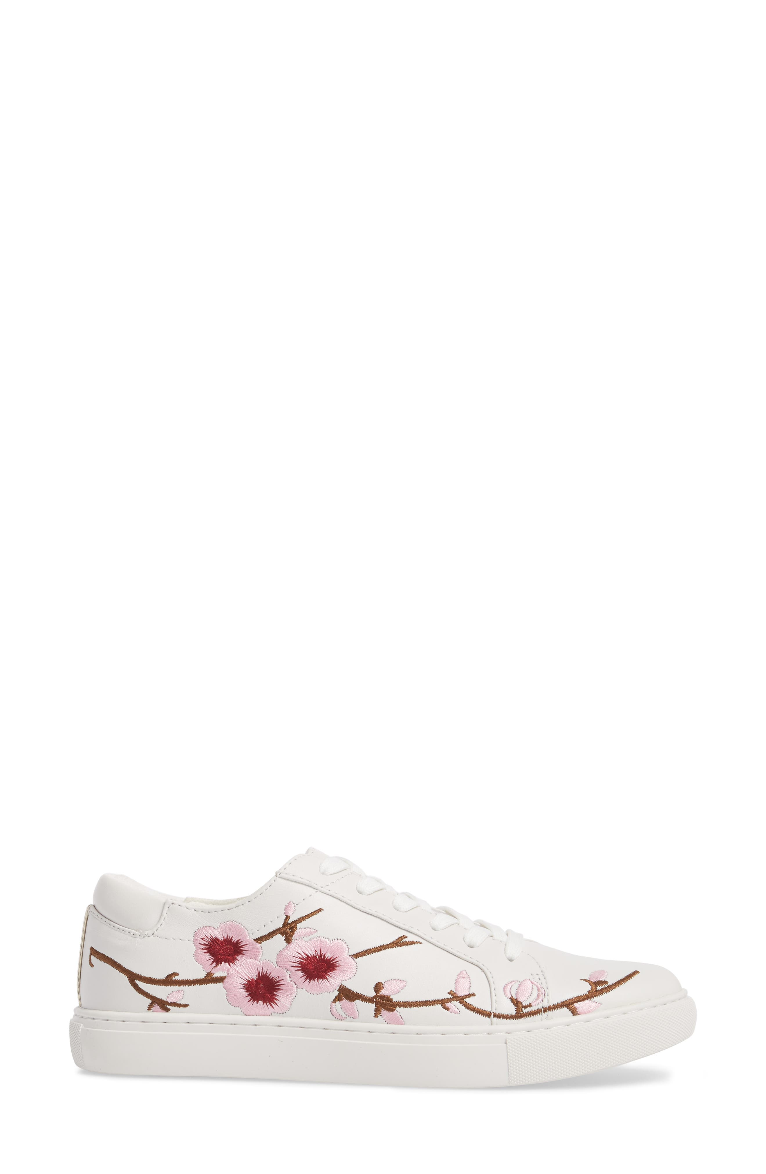 Kam Blossom Embroidered Sneaker,                             Alternate thumbnail 3, color,                             White Leather