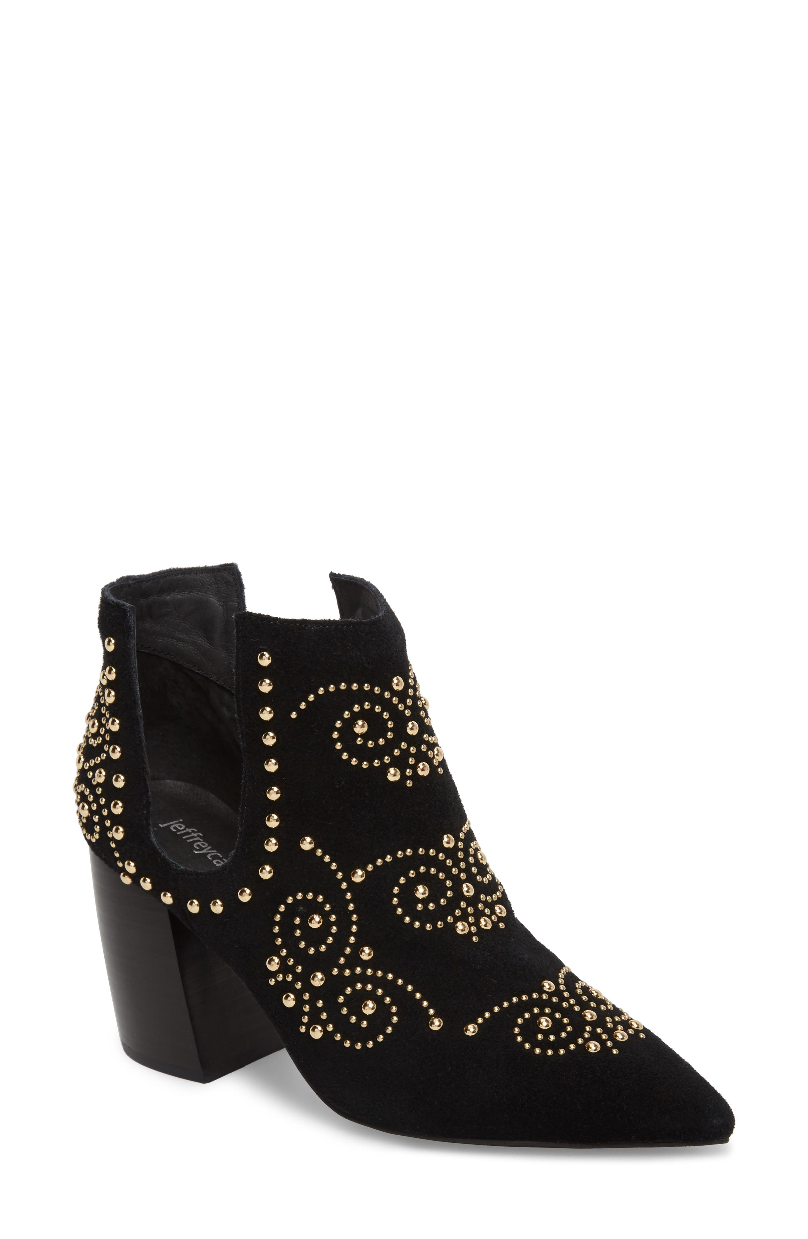 Ornella Studded Bootie,                         Main,                         color, Black/ Gold Suede