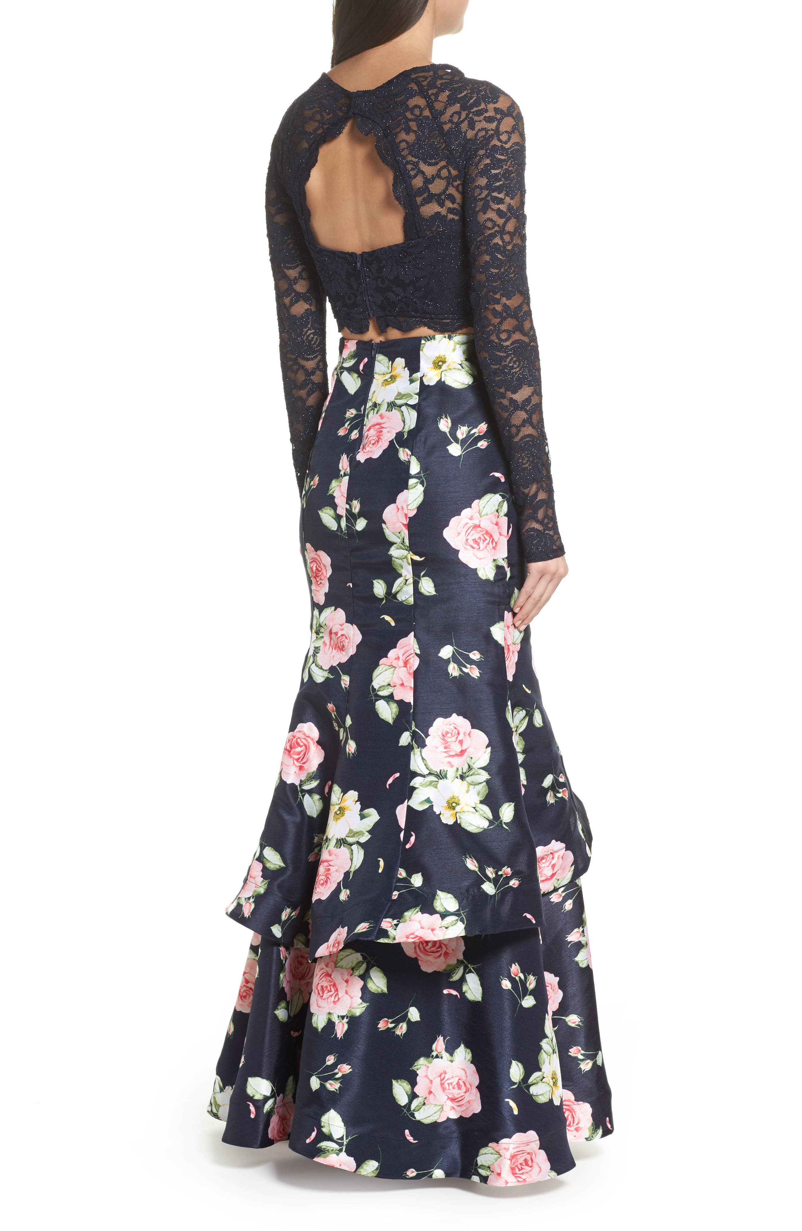 Floral & Lace Two-Piece Gown,                             Alternate thumbnail 2, color,                             Navy/ Rose