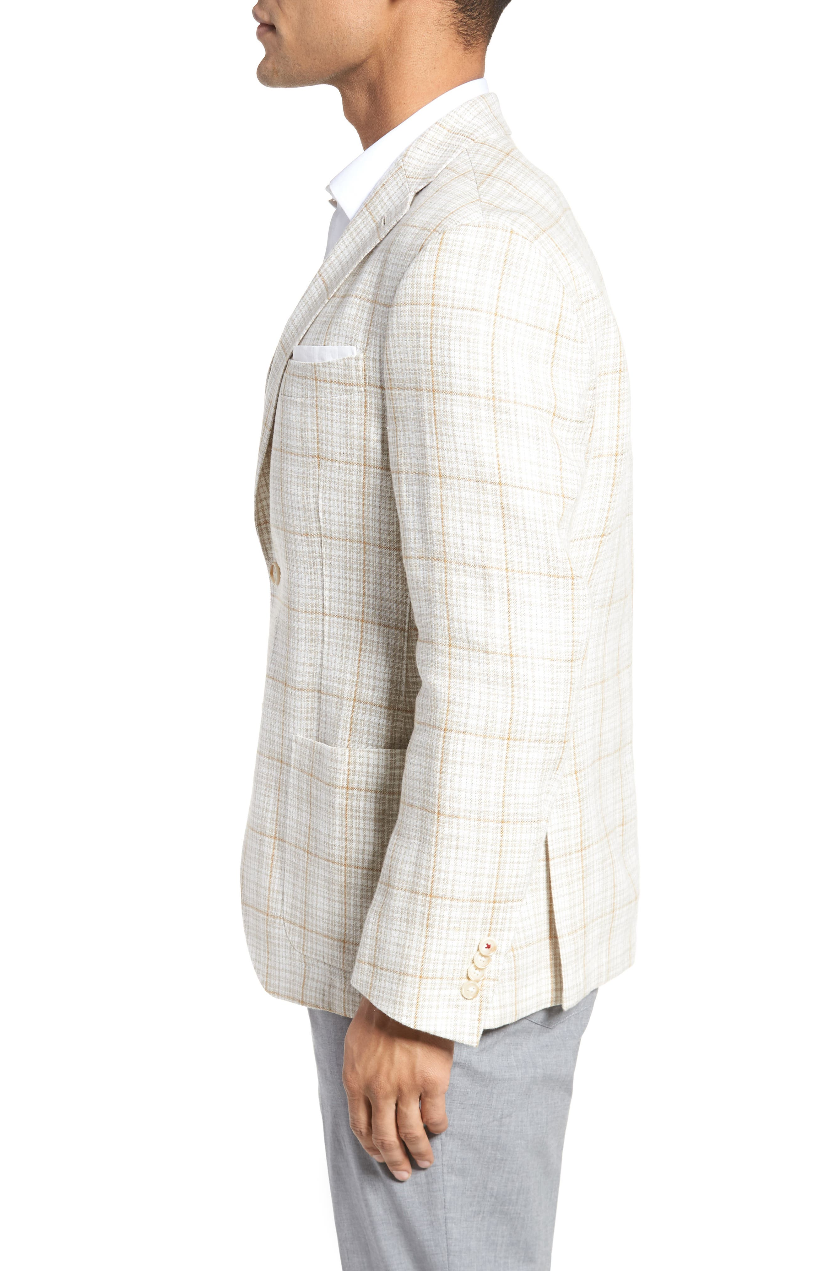 Trent Trim Fit Plaid Linen Sport Coat,                             Alternate thumbnail 3, color,                             Light Cream