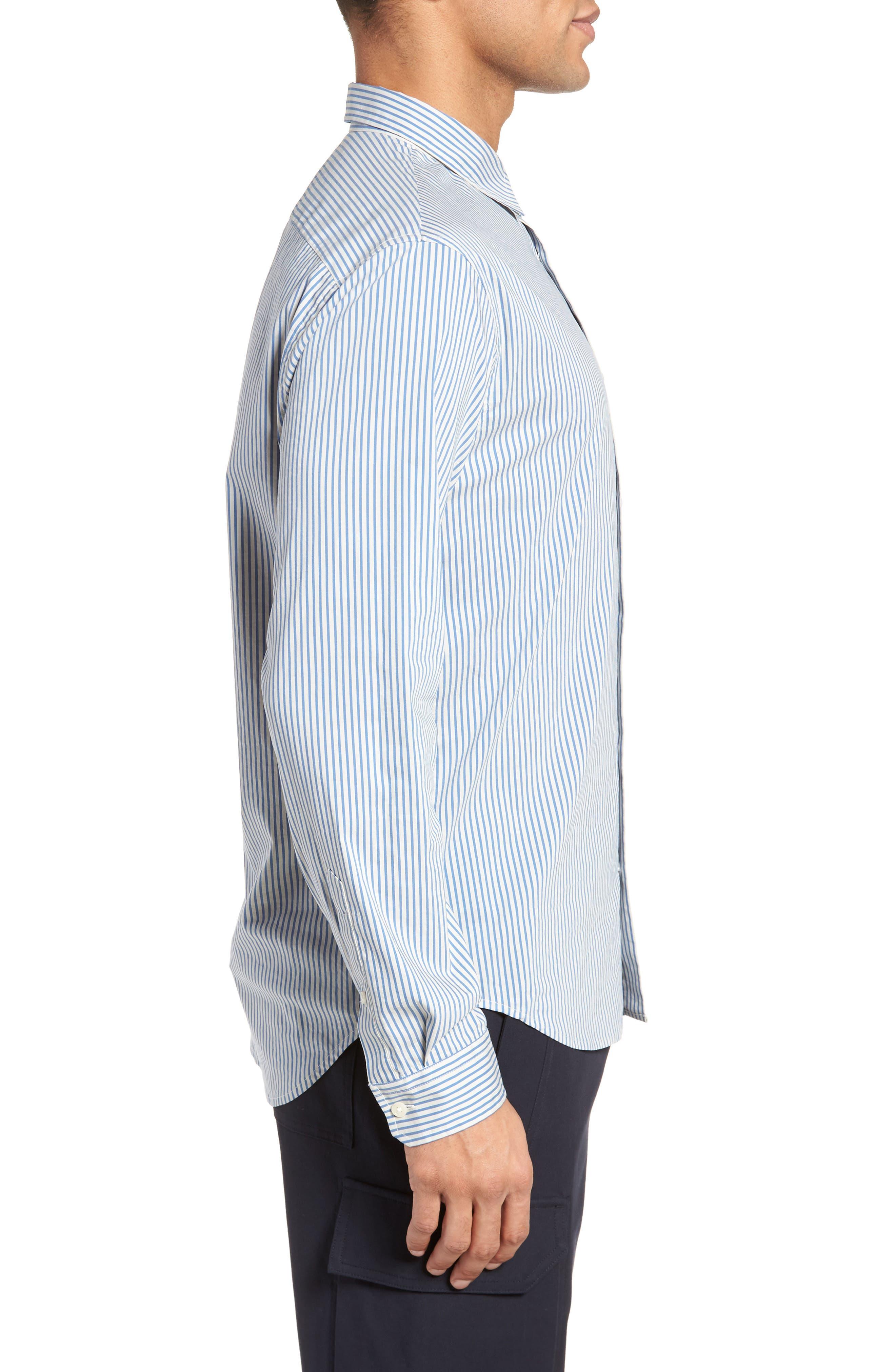Regular Fit Stripe Sport Shirt,                             Alternate thumbnail 3, color,                             White/ Ocean Blue