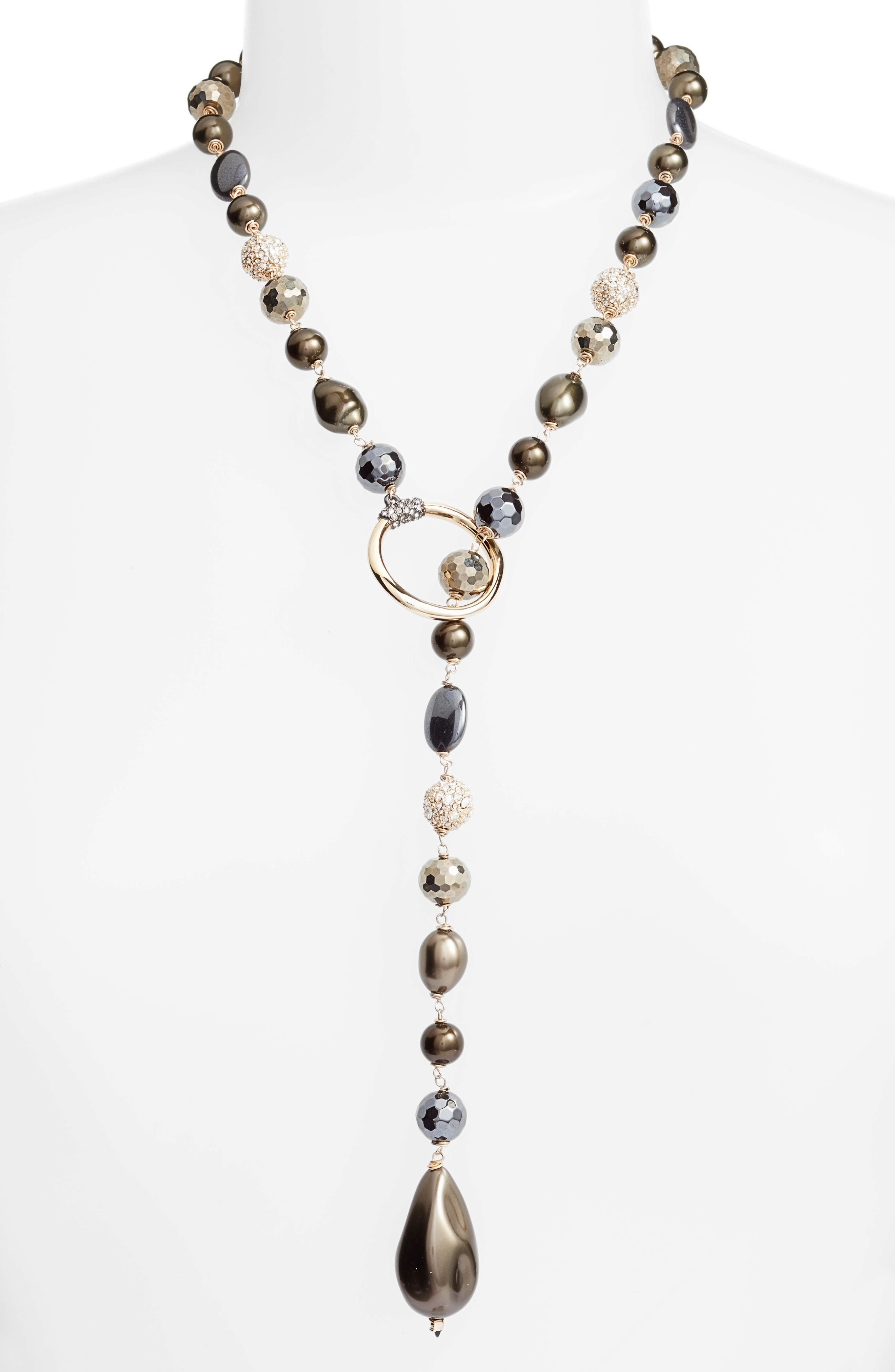 Imitation Baroque Pearl & Crystal Lariat Necklace,                         Main,                         color, Gold