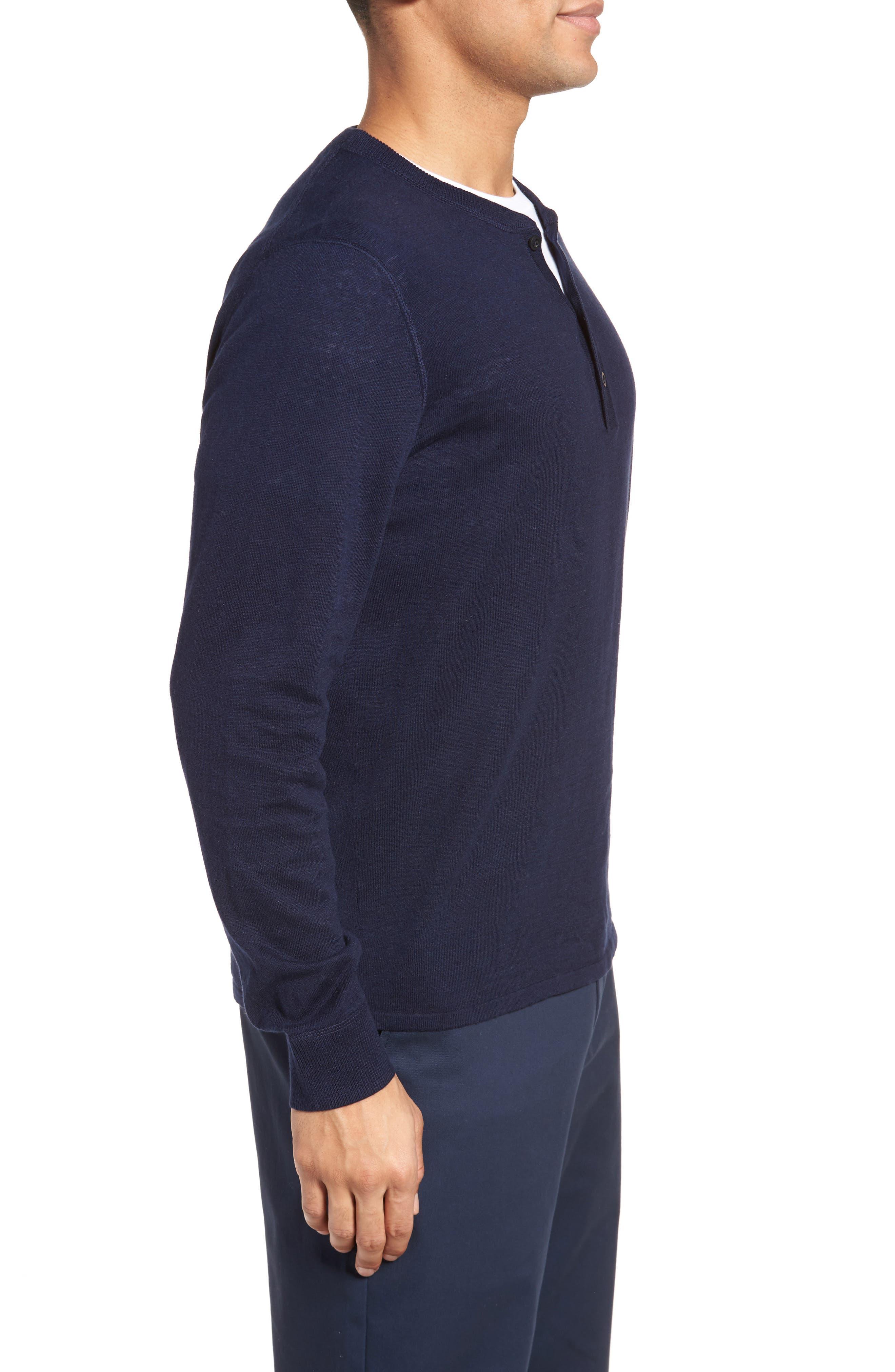 Alternate Image 3  - Nordstrom Men's Shop Long Sleeve Cotton & Linen Blend Henley