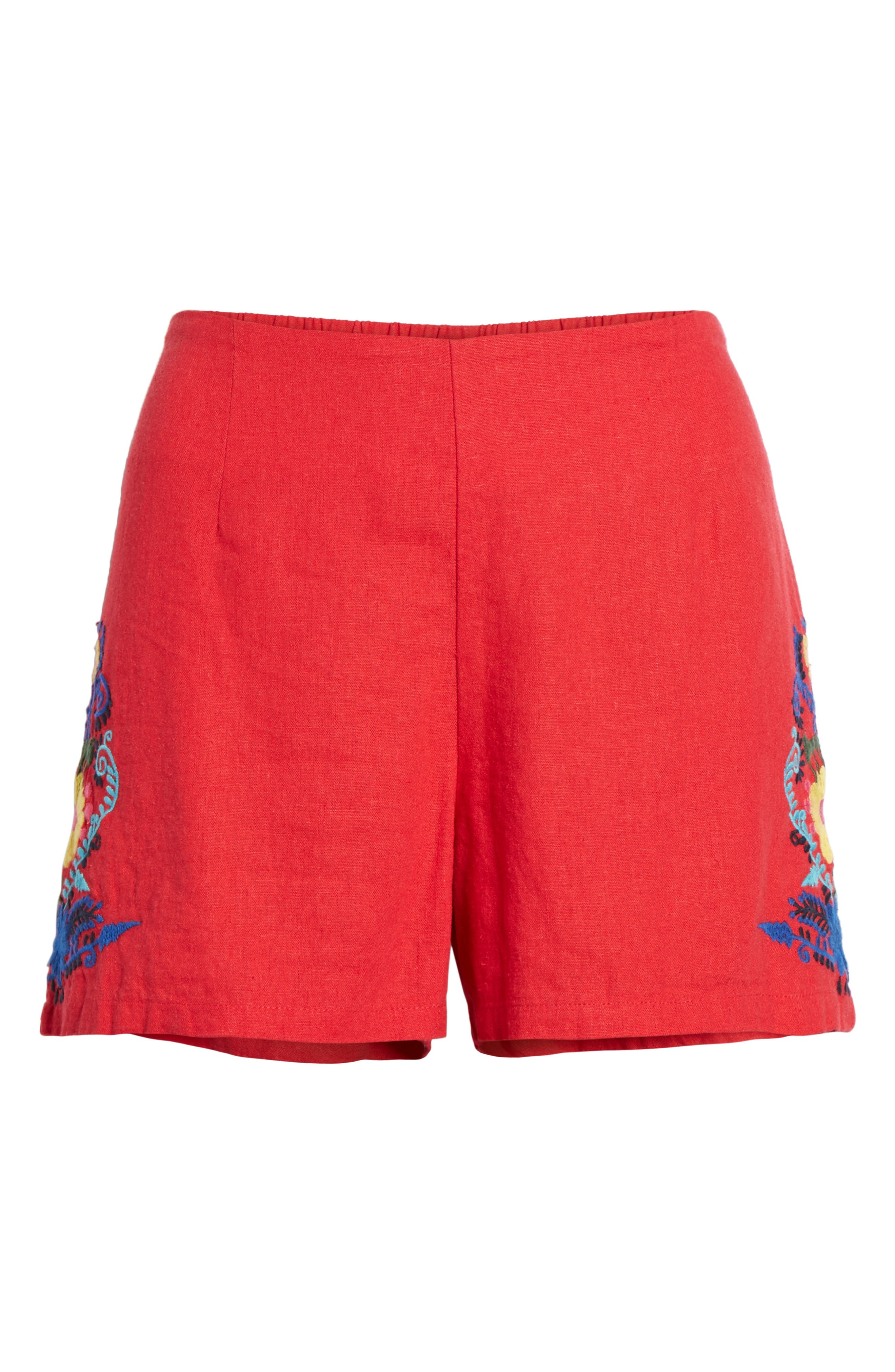 Embroidered Linen Blend Shorts,                             Alternate thumbnail 6, color,                             Red Lipstick