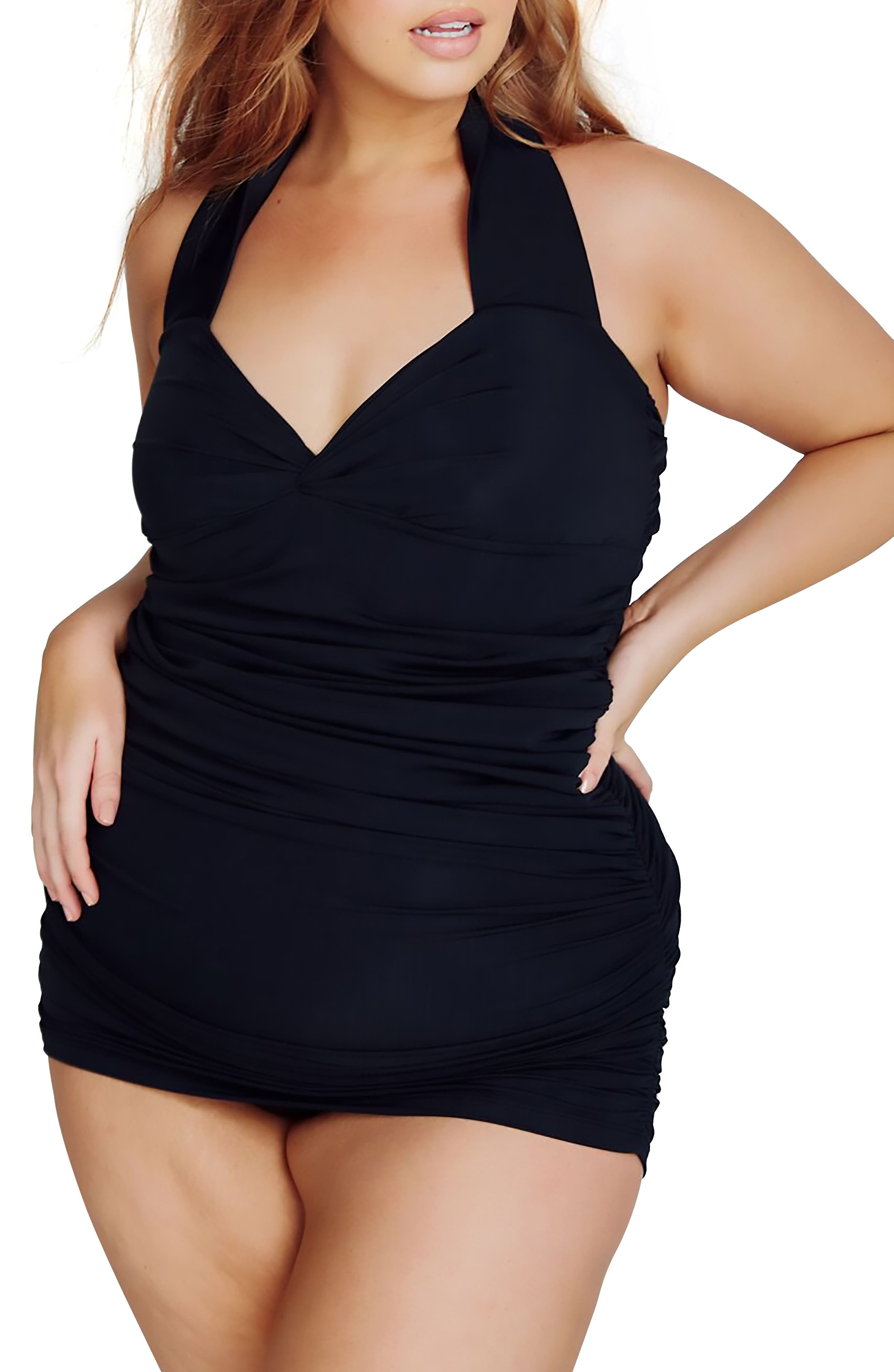 Versailles One-Piece Swimdress,                             Alternate thumbnail 3, color,                             Black