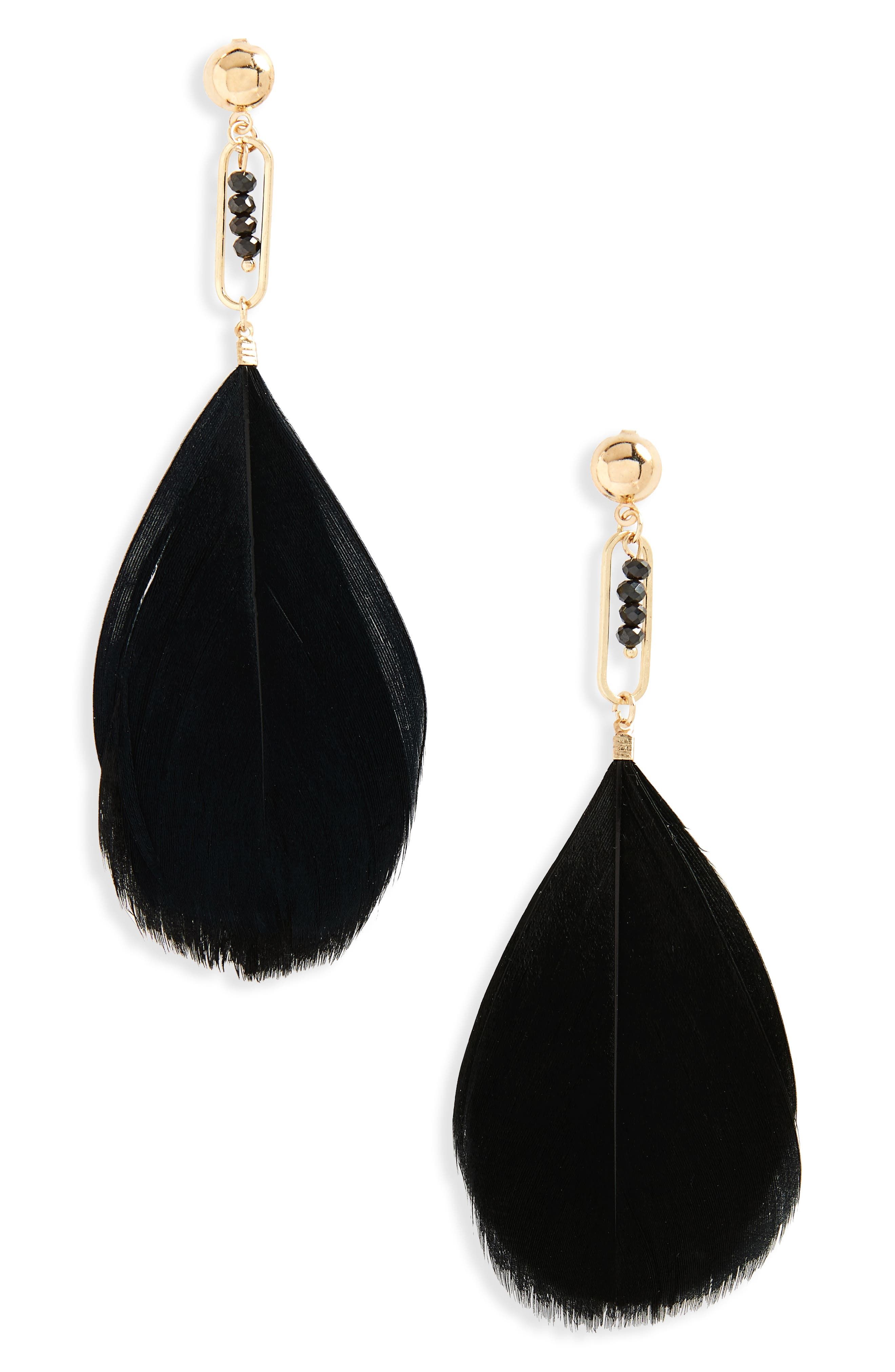 Bead & Feather Drop Earrings,                             Main thumbnail 1, color,                             Black/ Gold