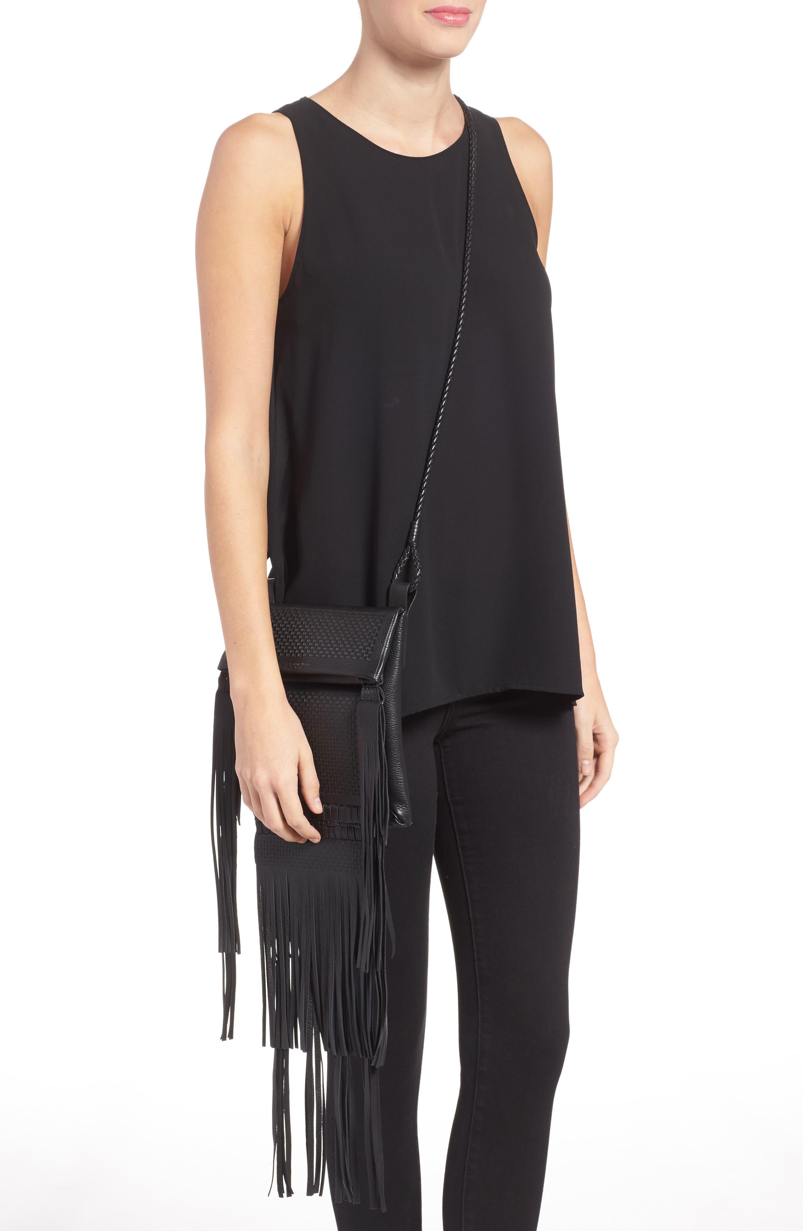 Saharienne Fringe Leather Crossbody Bag,                             Alternate thumbnail 2, color,                             Noir