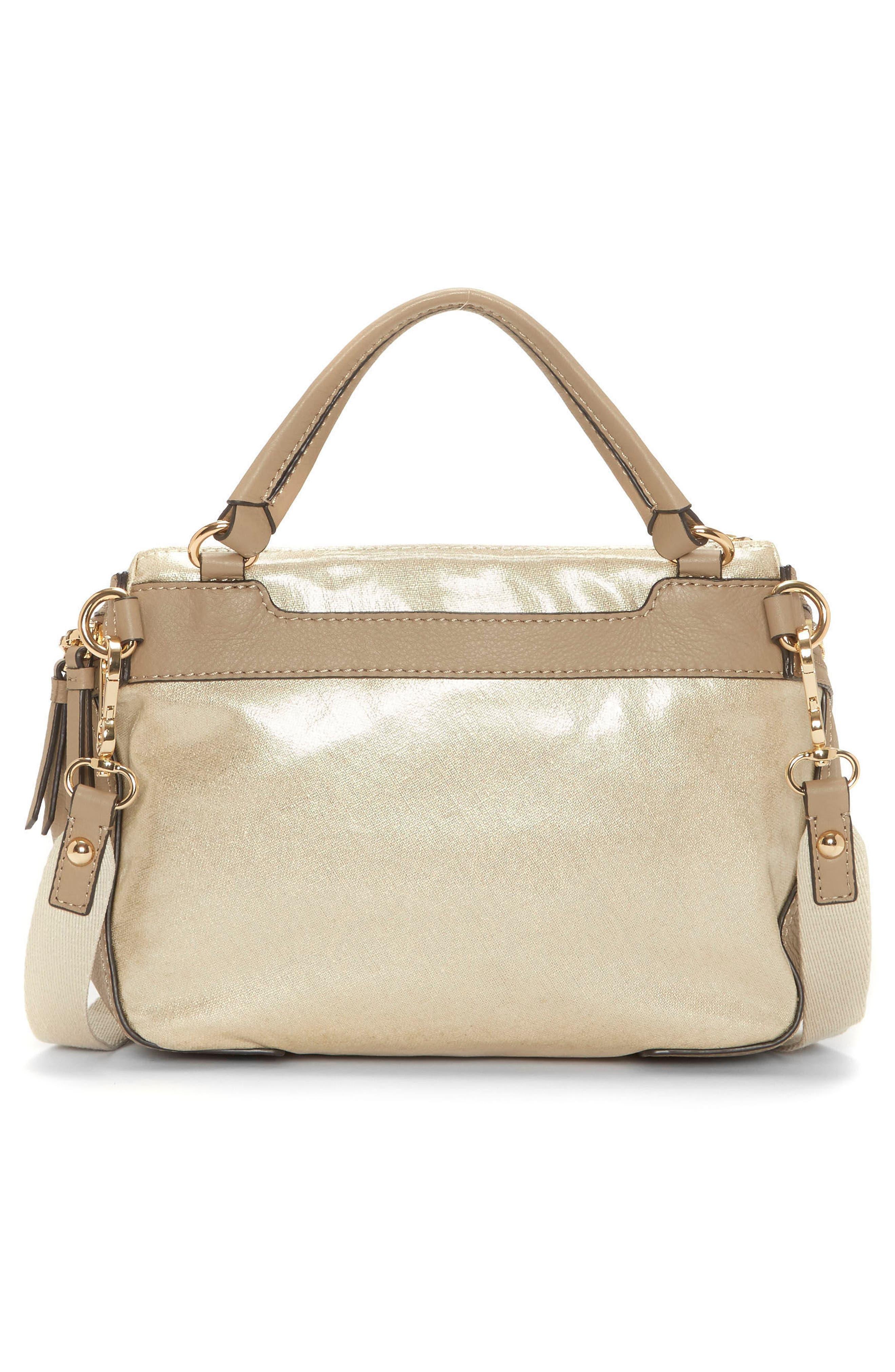 Medium Patch Nylon & Leather Crossbody Bag,                             Alternate thumbnail 2, color,                             Gold