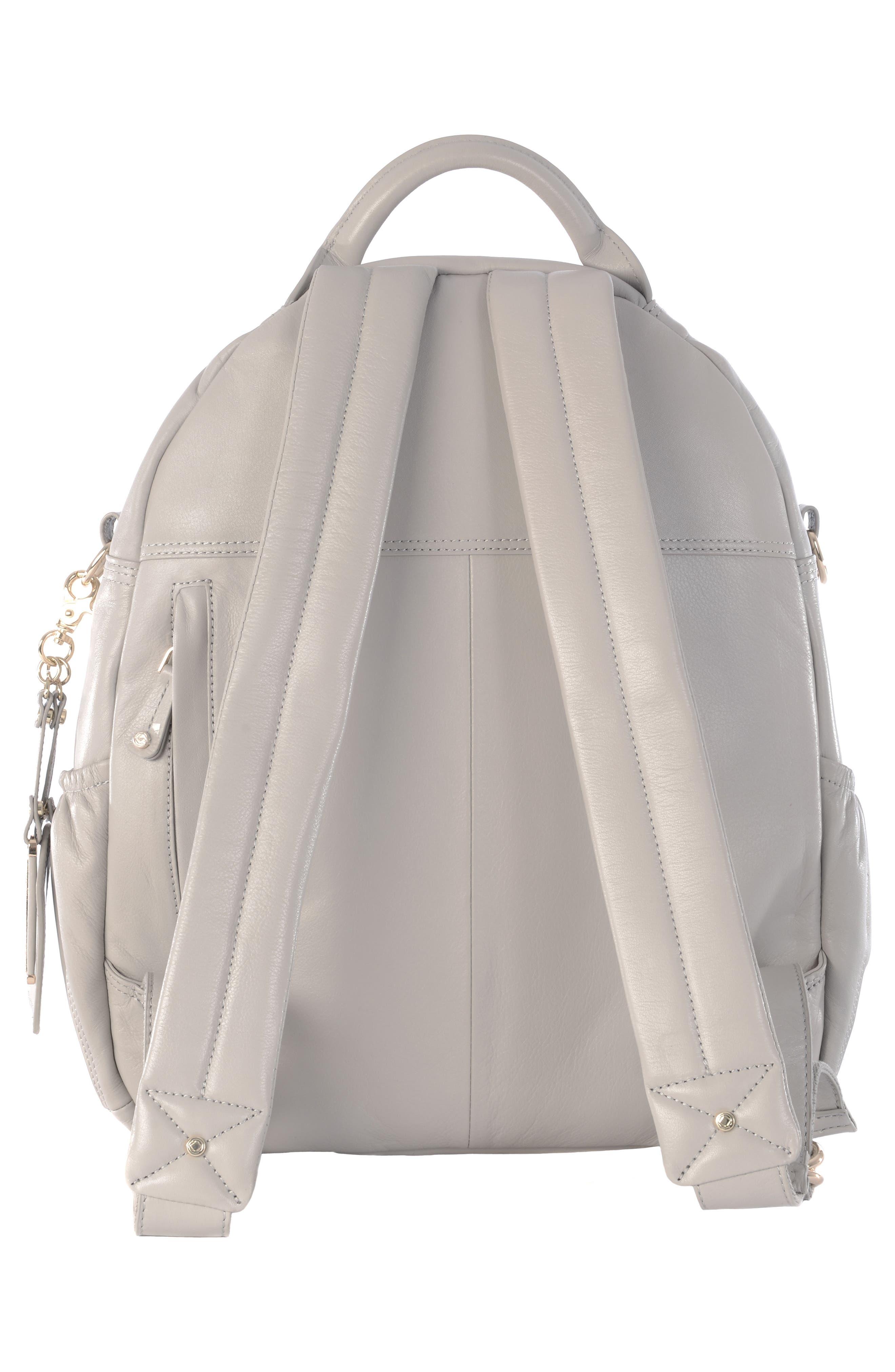 Joy XL Leather Backpack,                             Alternate thumbnail 3, color,                             Ice Grey
