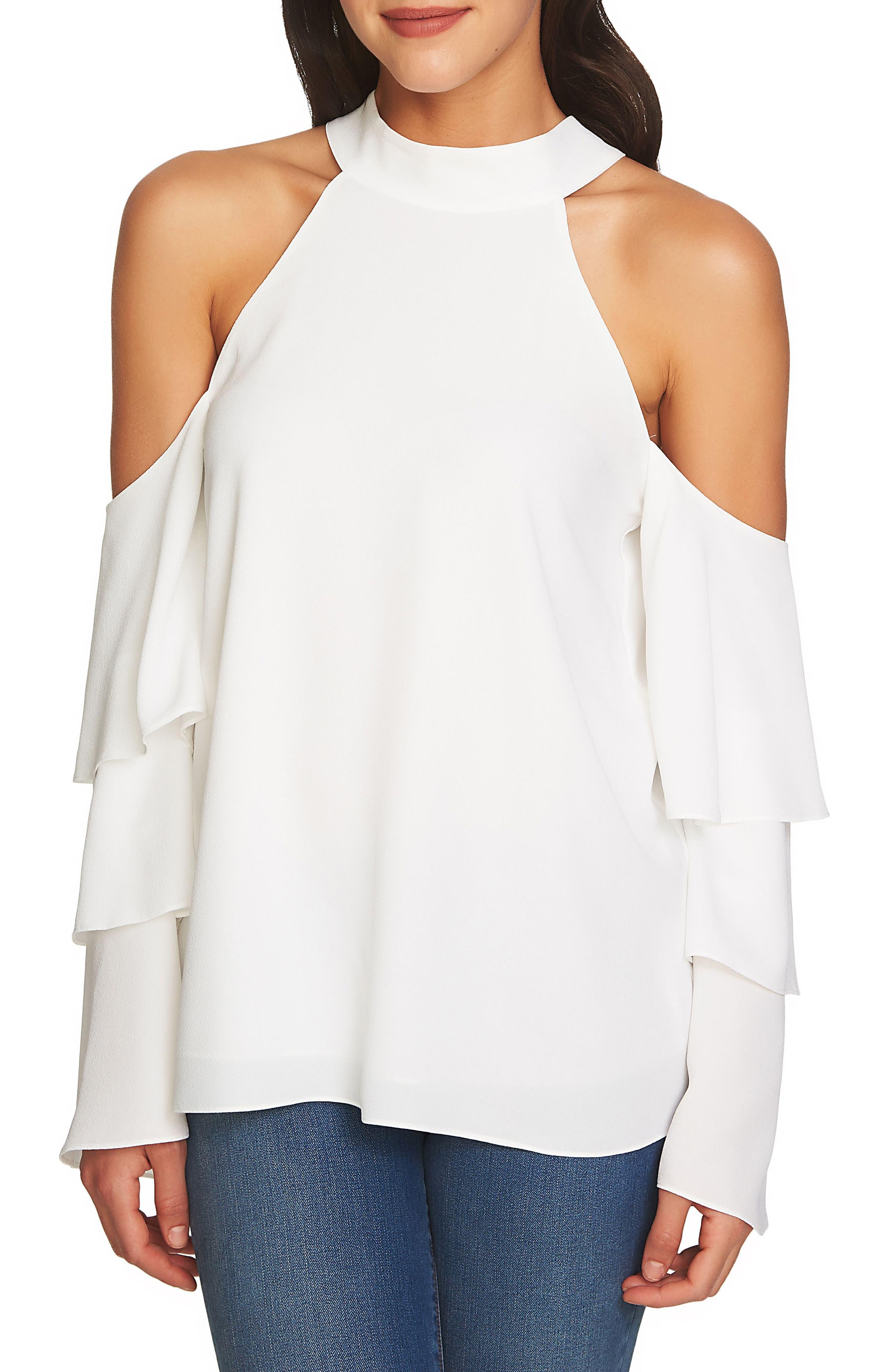 Cold Shoulder Blouse,                         Main,                         color, Antique White