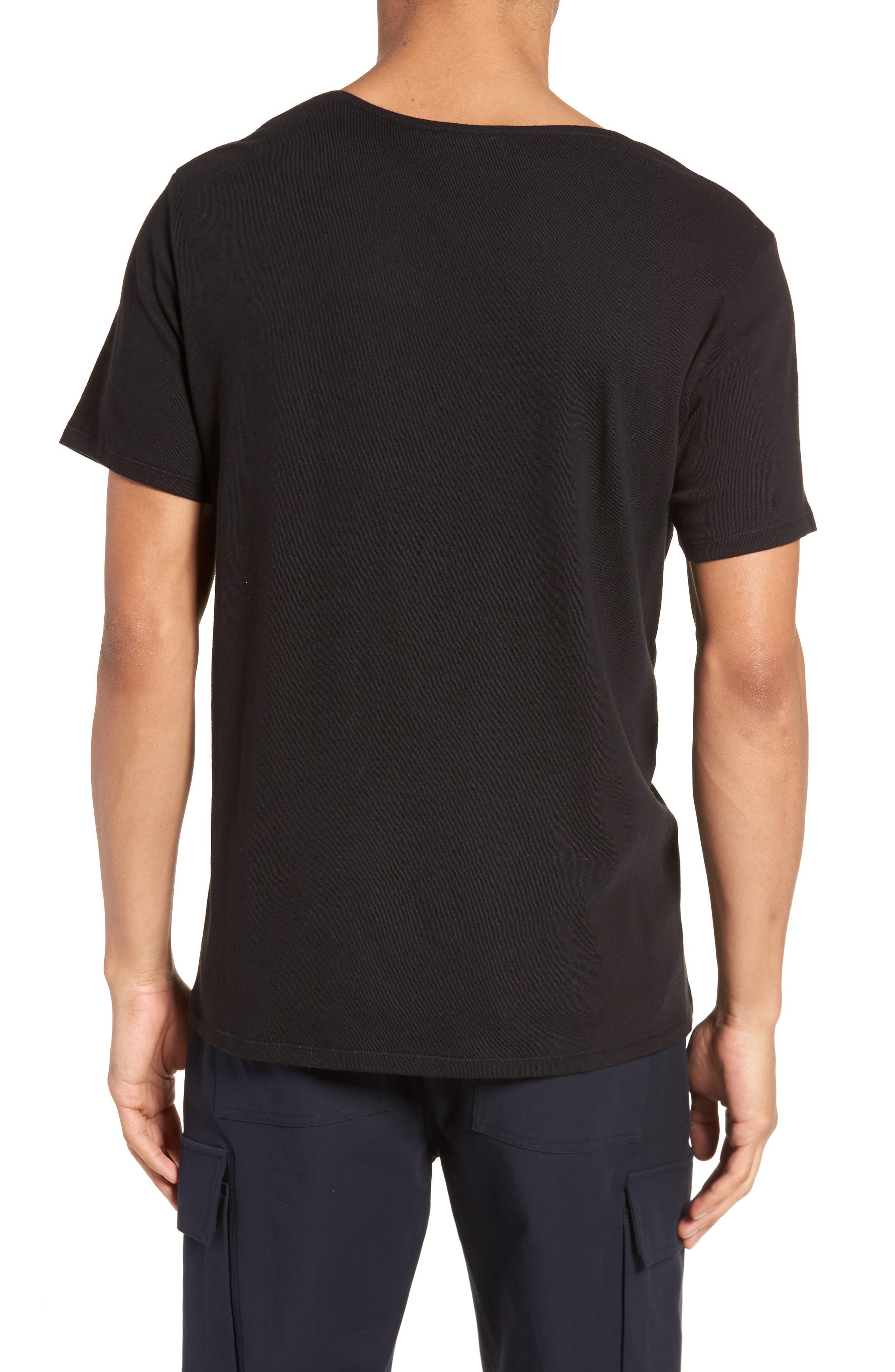 Raw Edge T-Shirt,                             Alternate thumbnail 2, color,                             Black
