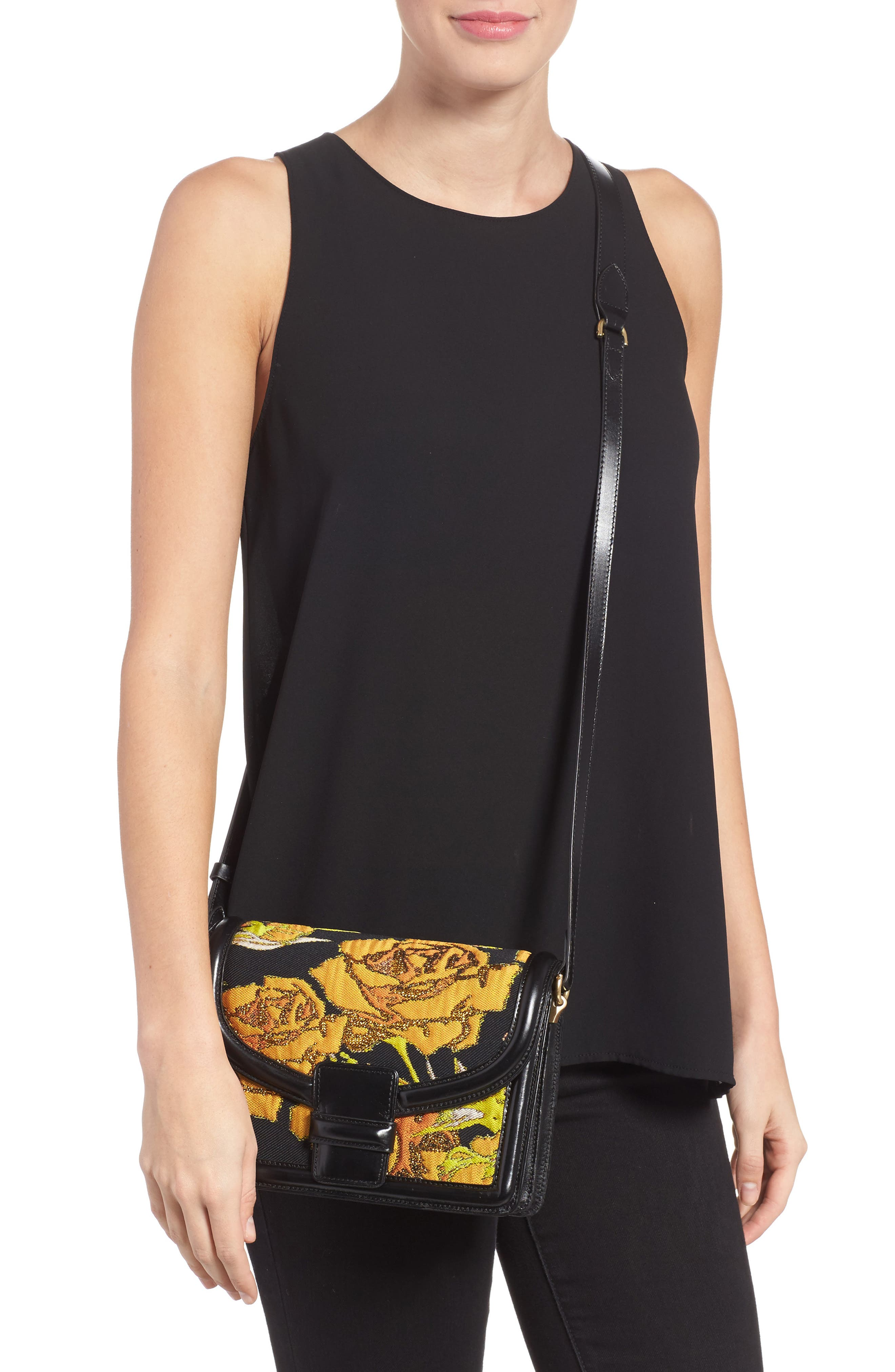 Floral Jacquard & Leather Crossbody Bag,                             Alternate thumbnail 2, color,                             Yellow