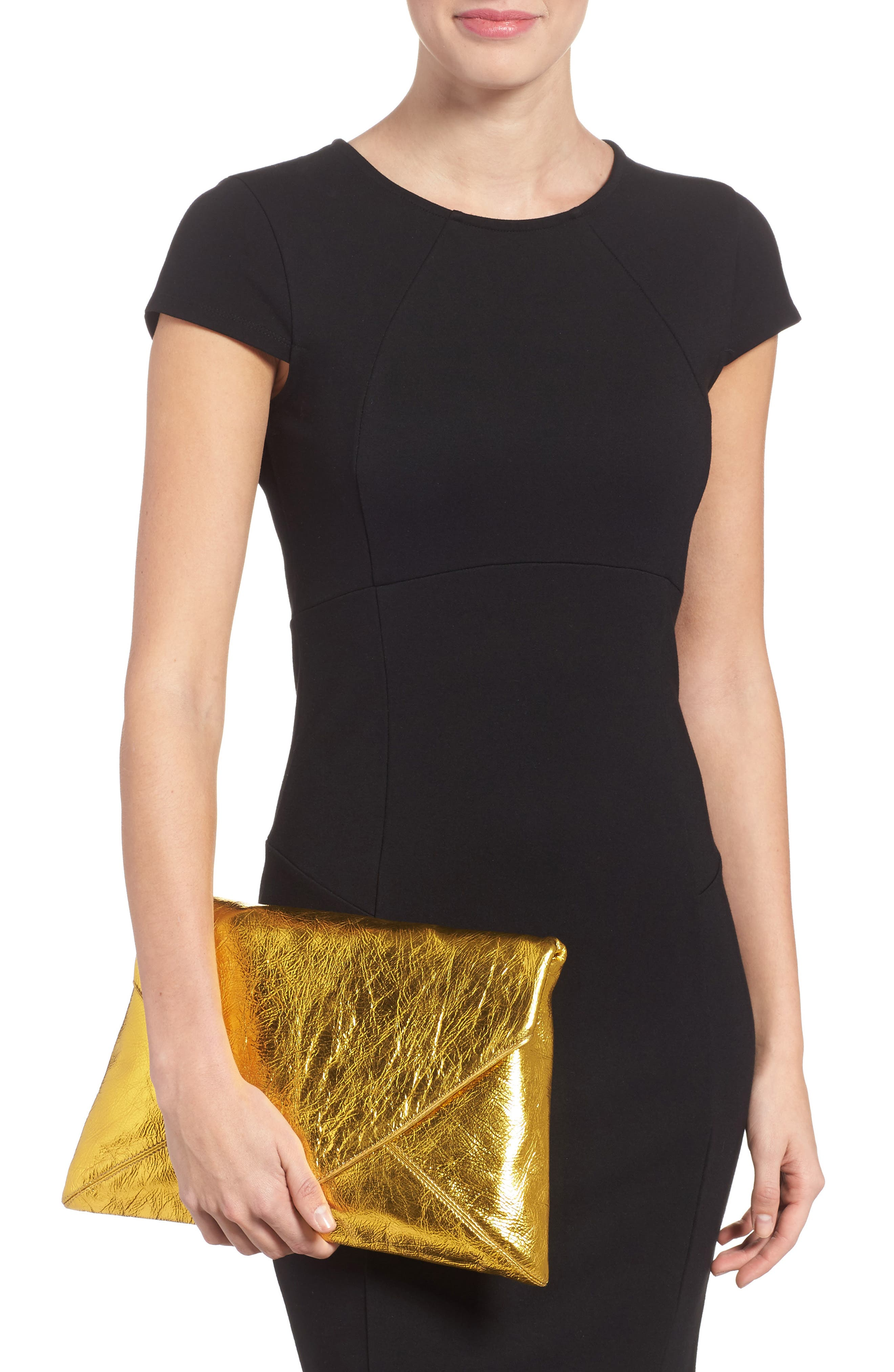 Metallic Leather Envelope Clutch,                             Alternate thumbnail 2, color,                             Gold