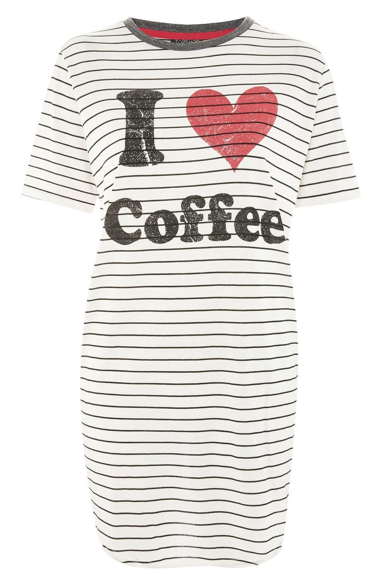 I Love Coffee Sleep T-Shirt Dress,                             Alternate thumbnail 3, color,                             White Multi