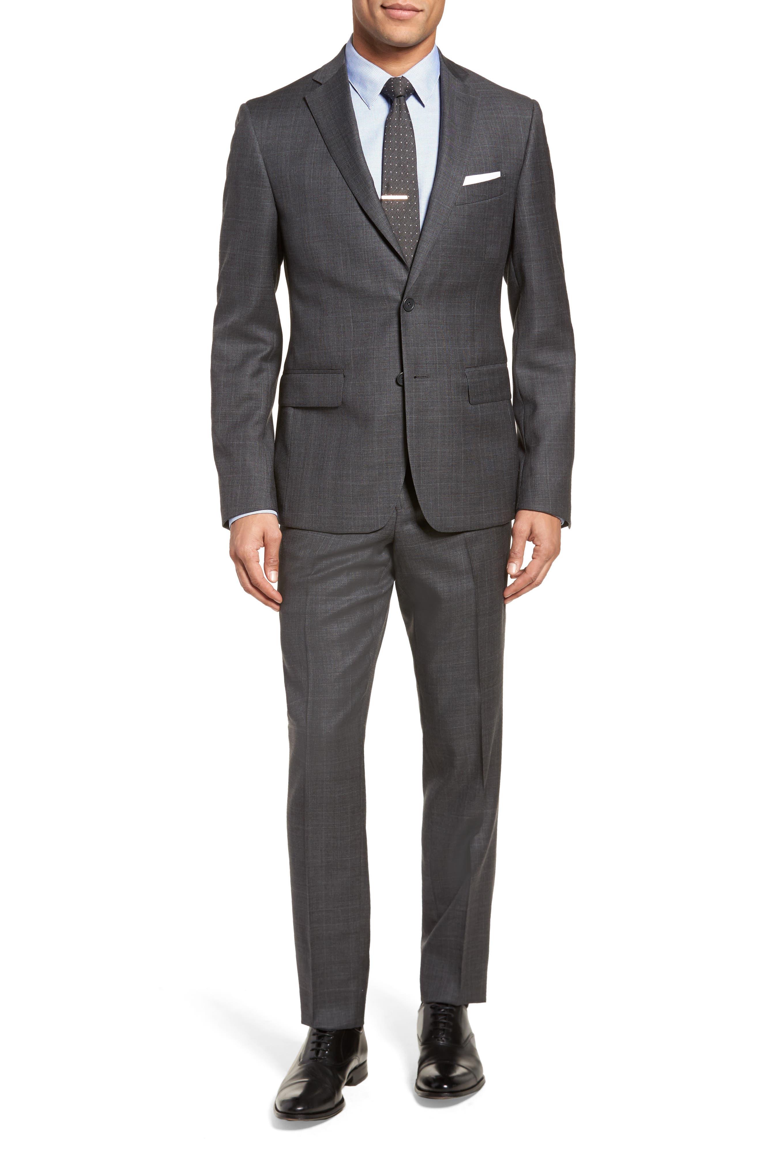 Extra Trim Fit Plaid Wool Suit,                         Main,                         color, Grey