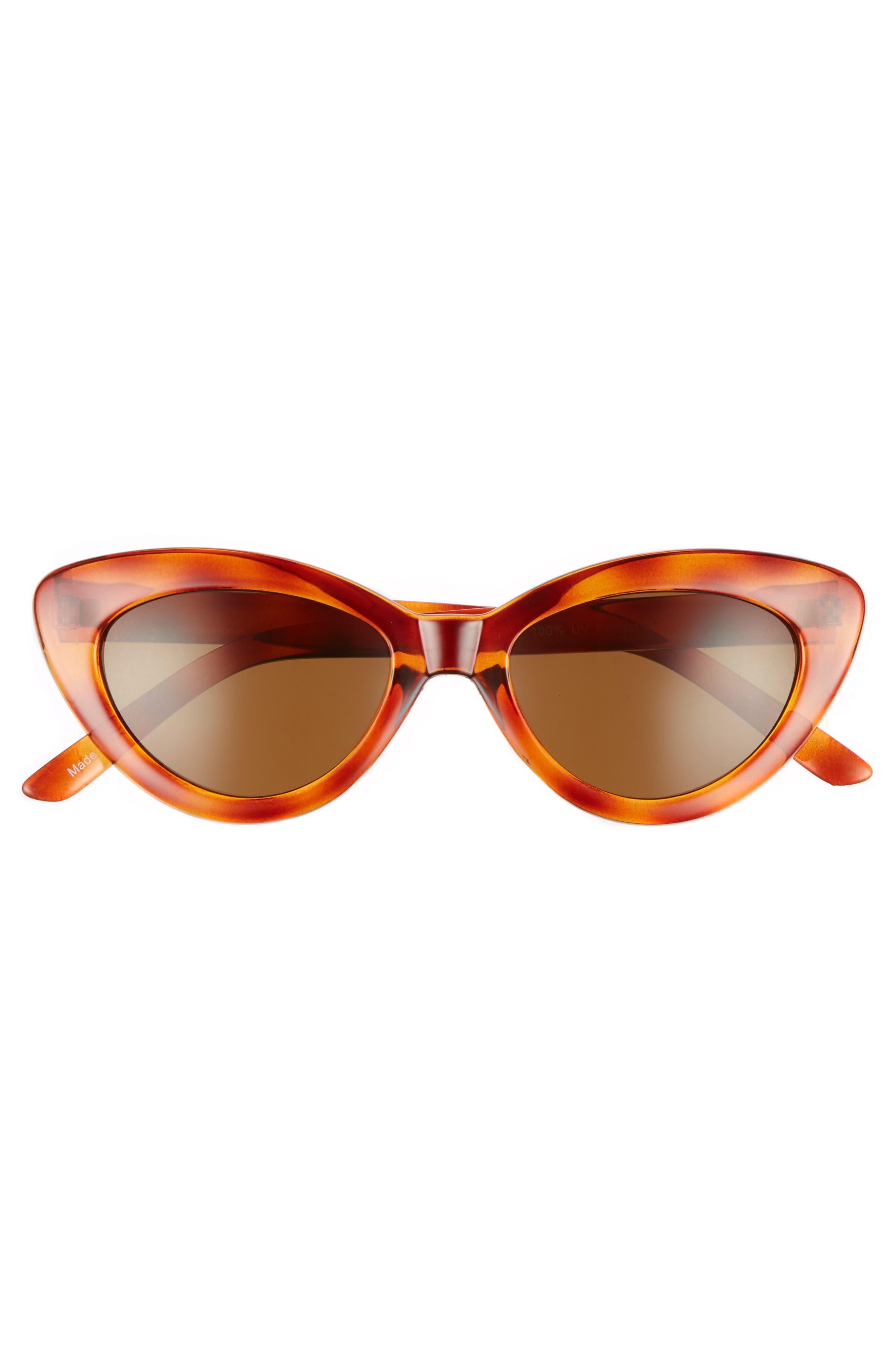 51mm Mini Cat Eye Sunglasses,                             Alternate thumbnail 3, color,                             Tort