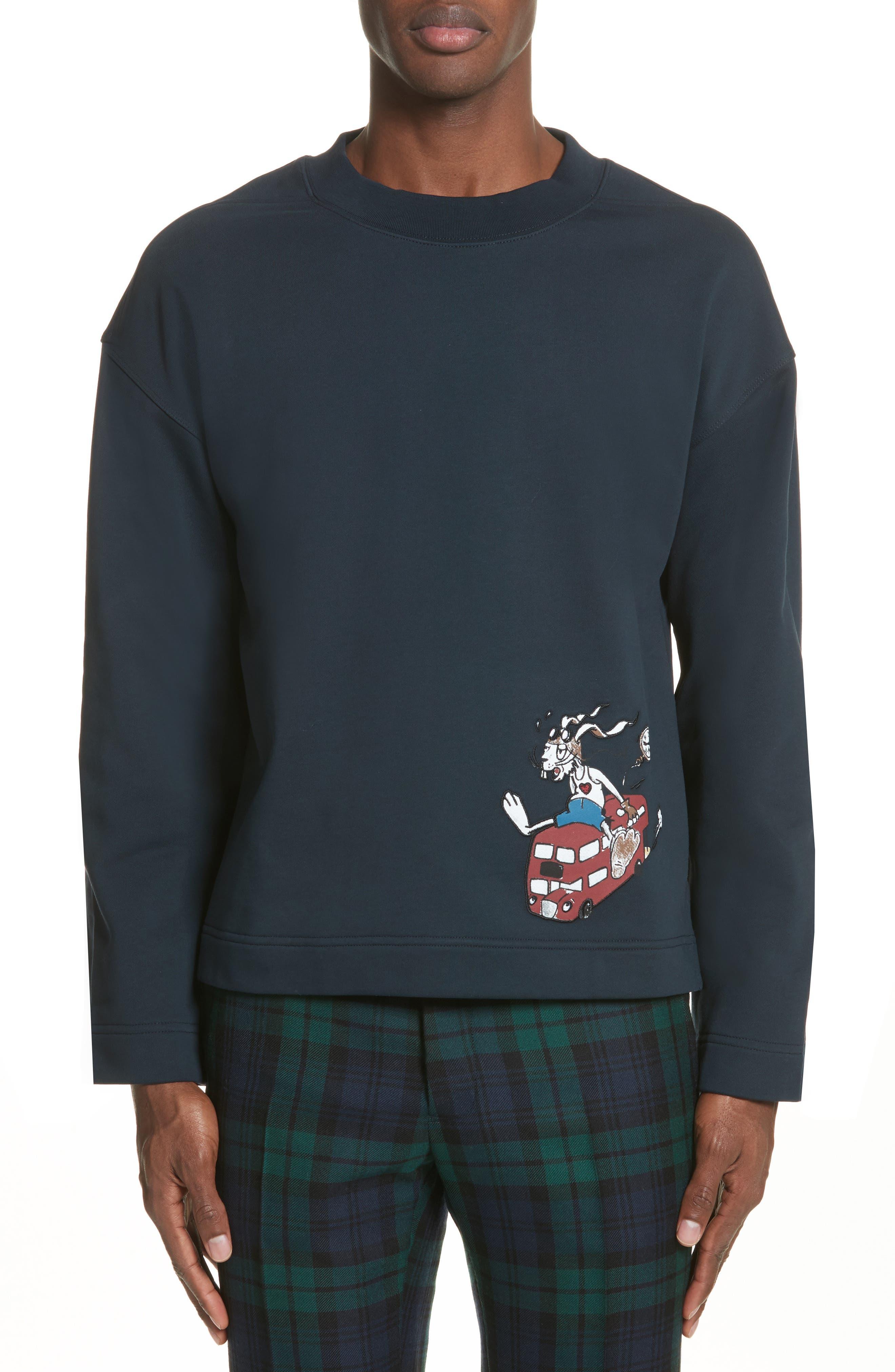 Sketch Print Appliquéd Cropped Sweatshirt,                             Main thumbnail 1, color,                             Navy