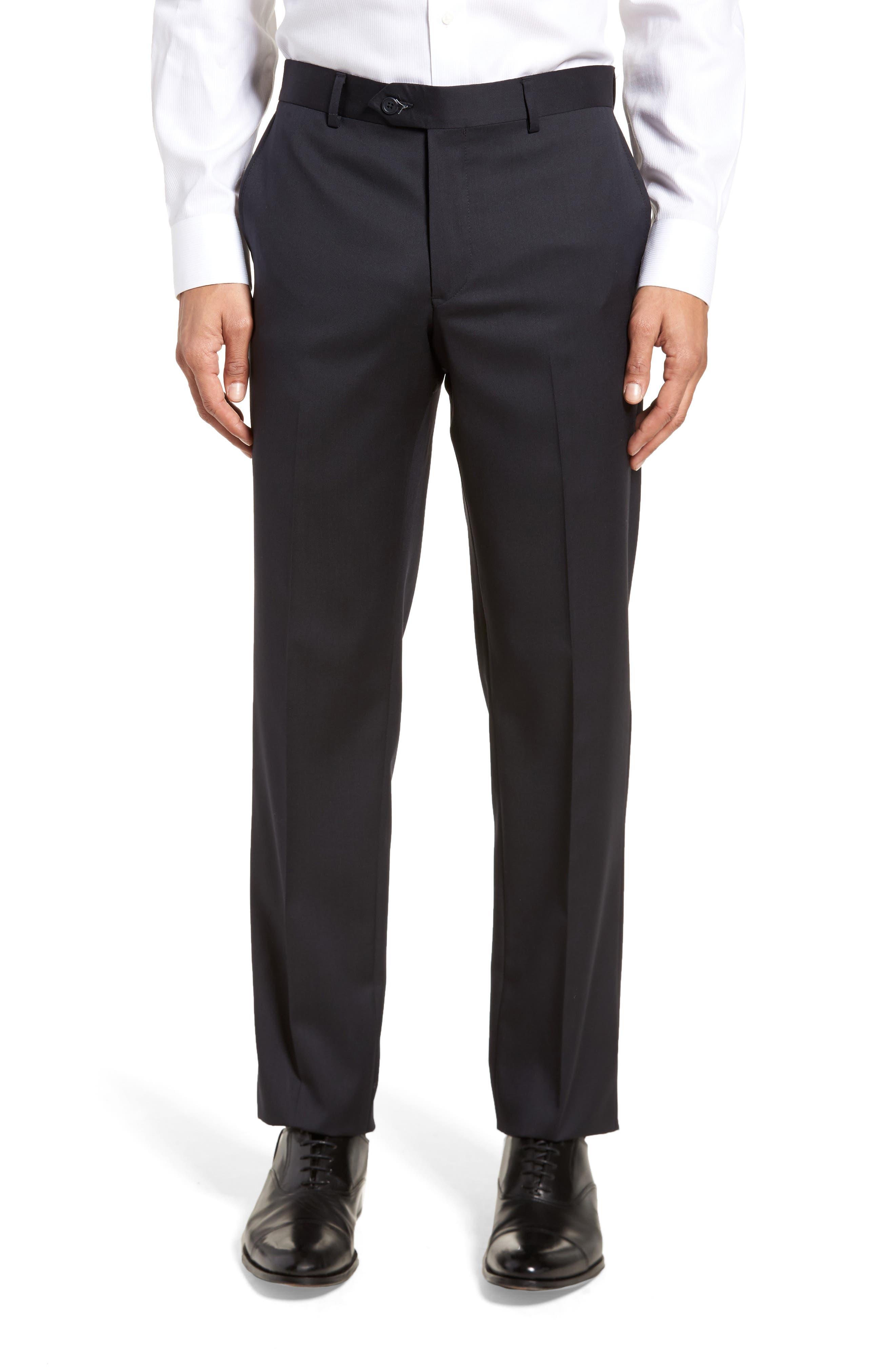 Trim Fit Solid Wool Suit,                             Alternate thumbnail 6, color,                             Navy