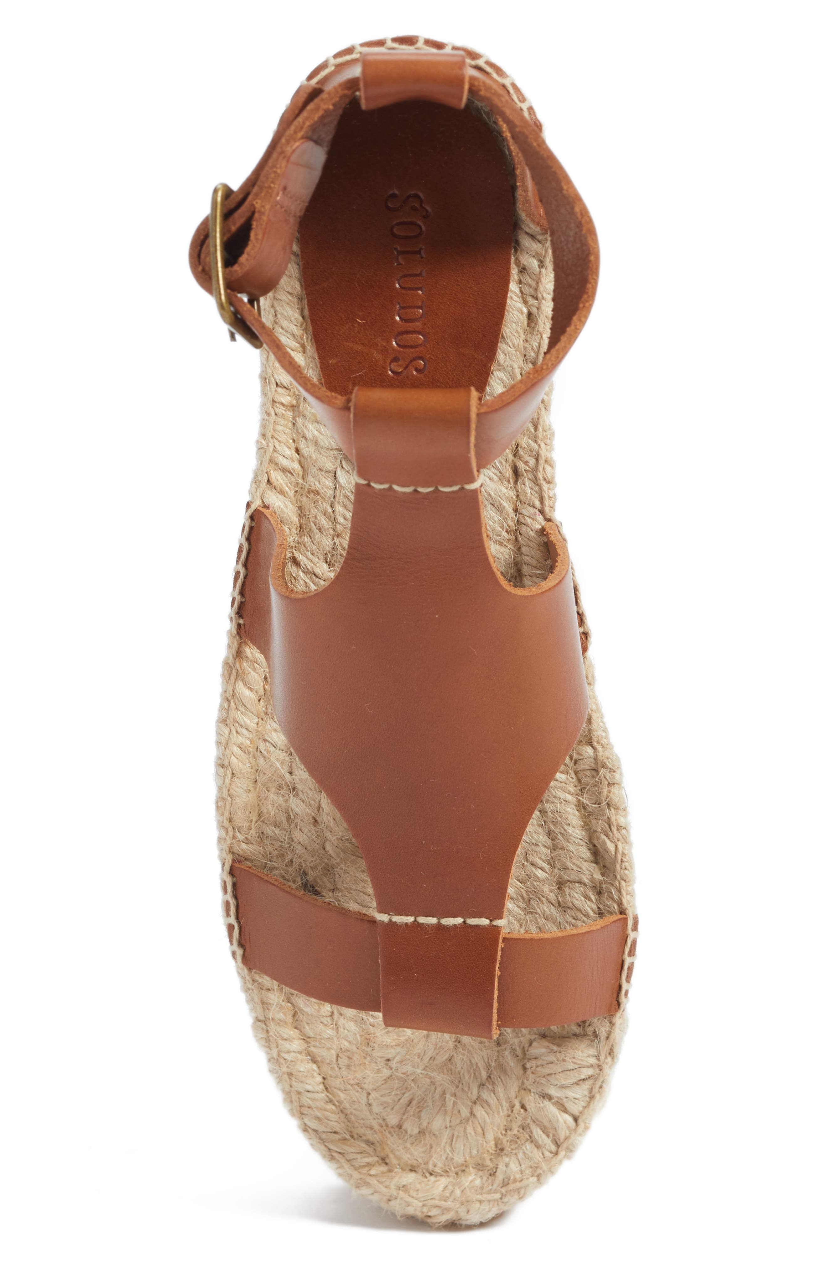 Strappy Espadrille Sandal,                             Alternate thumbnail 5, color,                             Walnut Leather