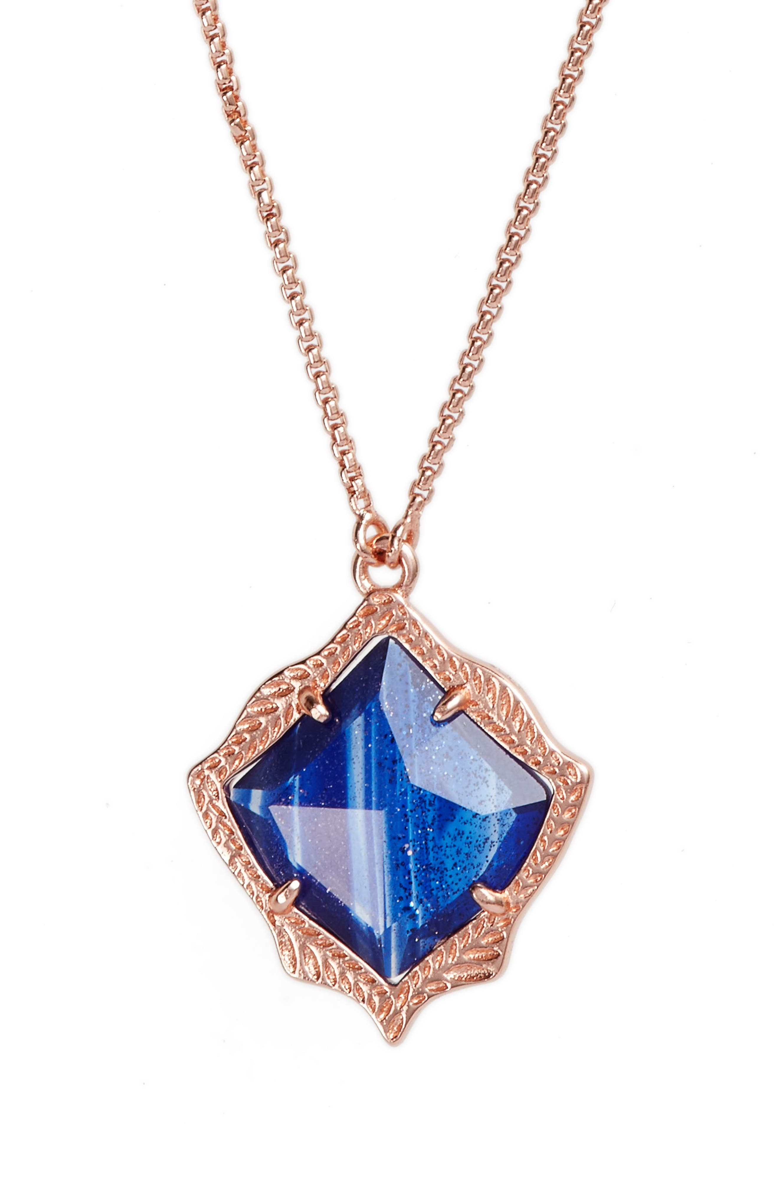Kacey Pendant Necklace,                             Alternate thumbnail 2, color,                             Navy Dusted Glass/ Rose Gold
