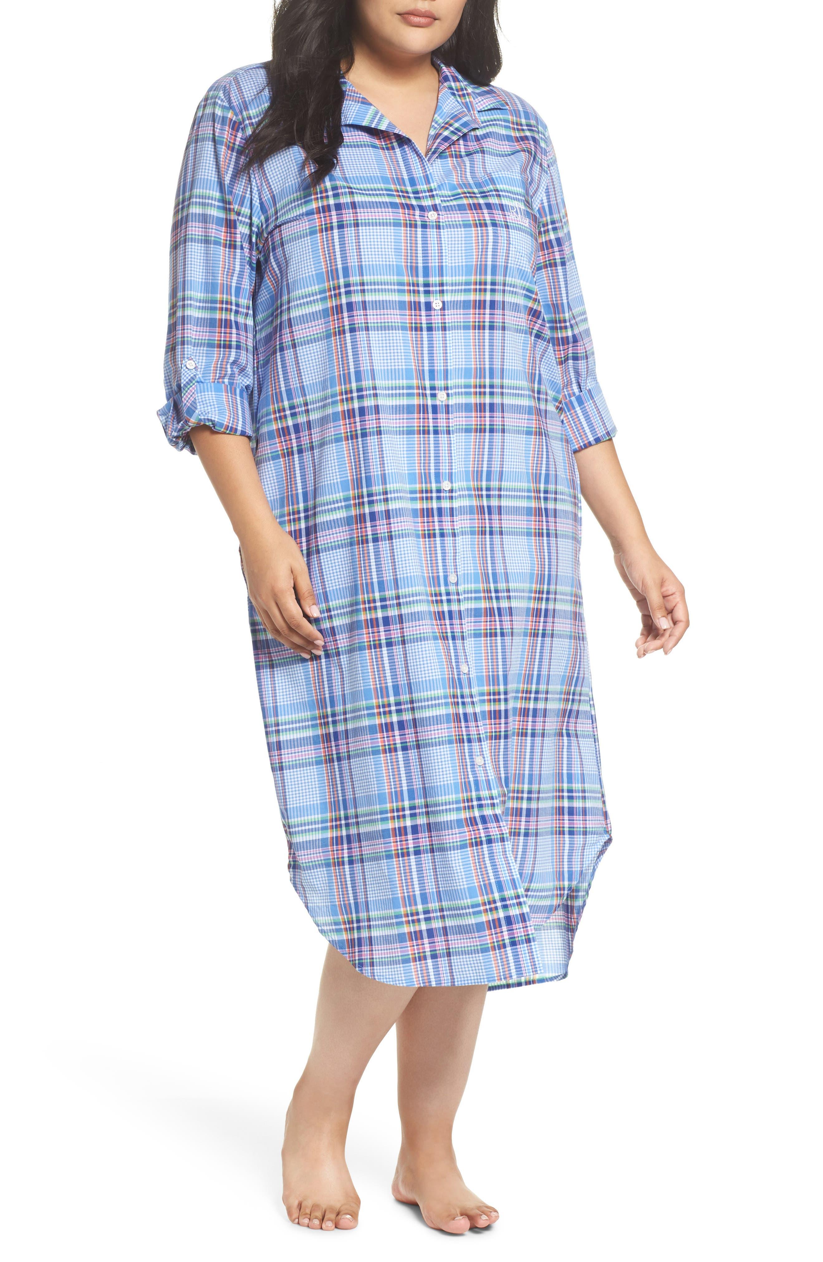 Ballet Plaid Sleep Shirt,                         Main,                         color, Blue Plaid